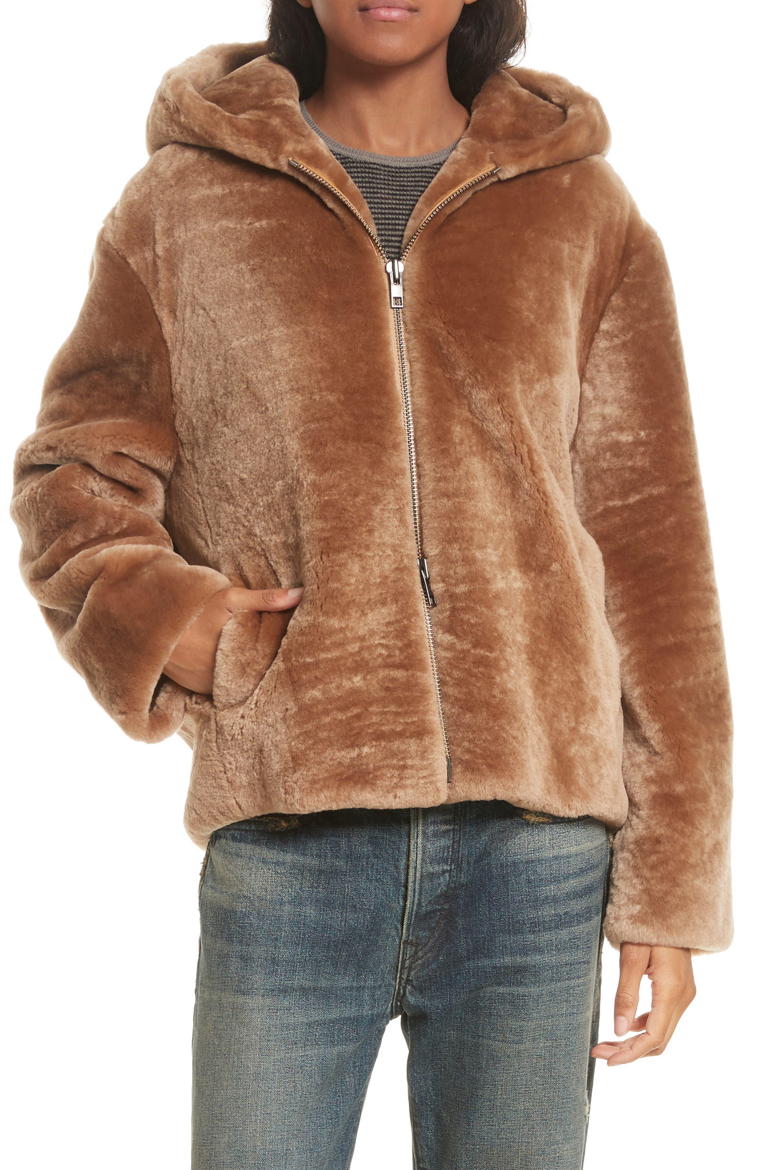 Genuine Shearling Hoodie,                         Main,                         color,