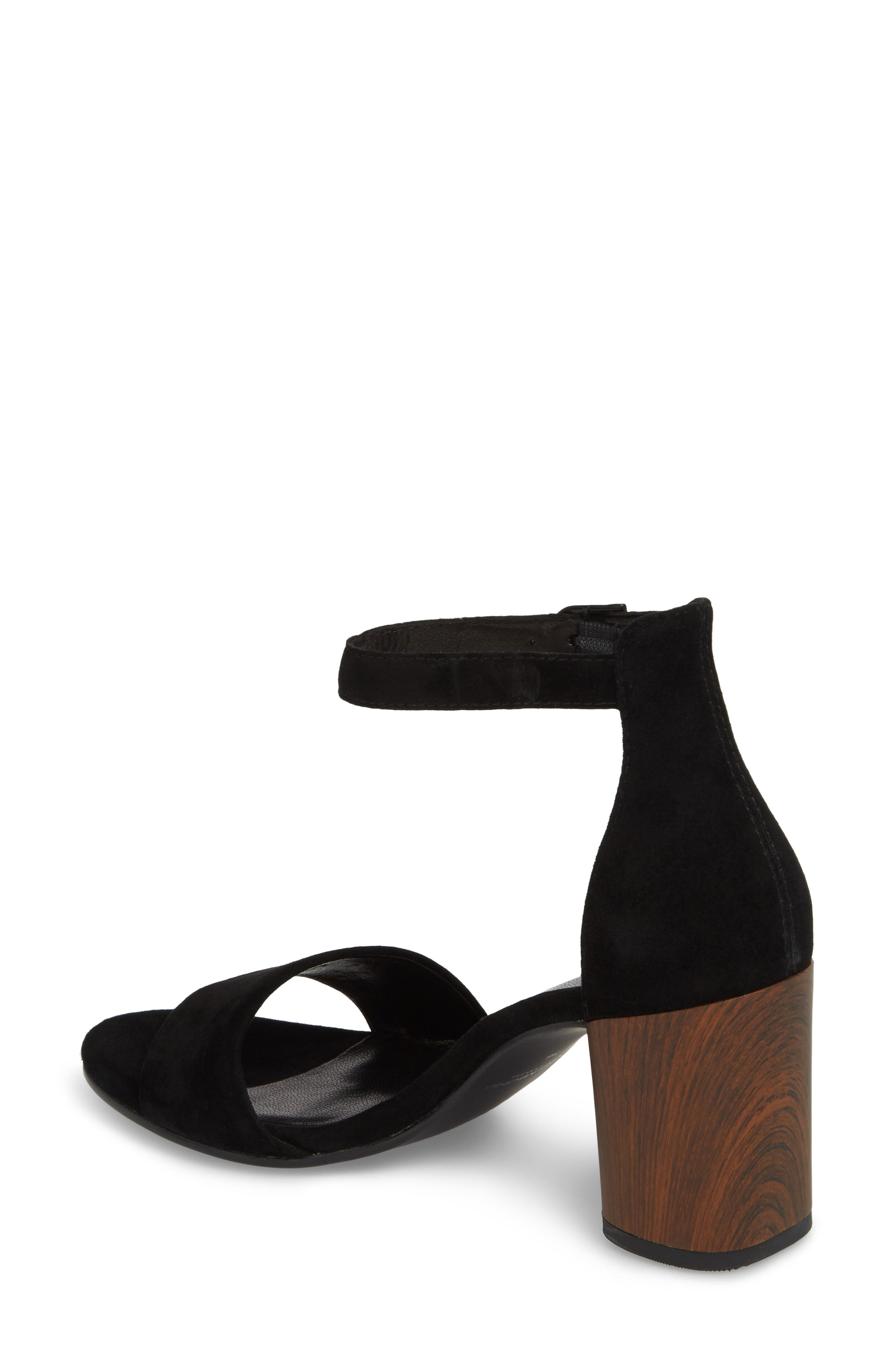 Carol Ankle Strap Sandal,                             Alternate thumbnail 2, color,                             BLACK SUEDE