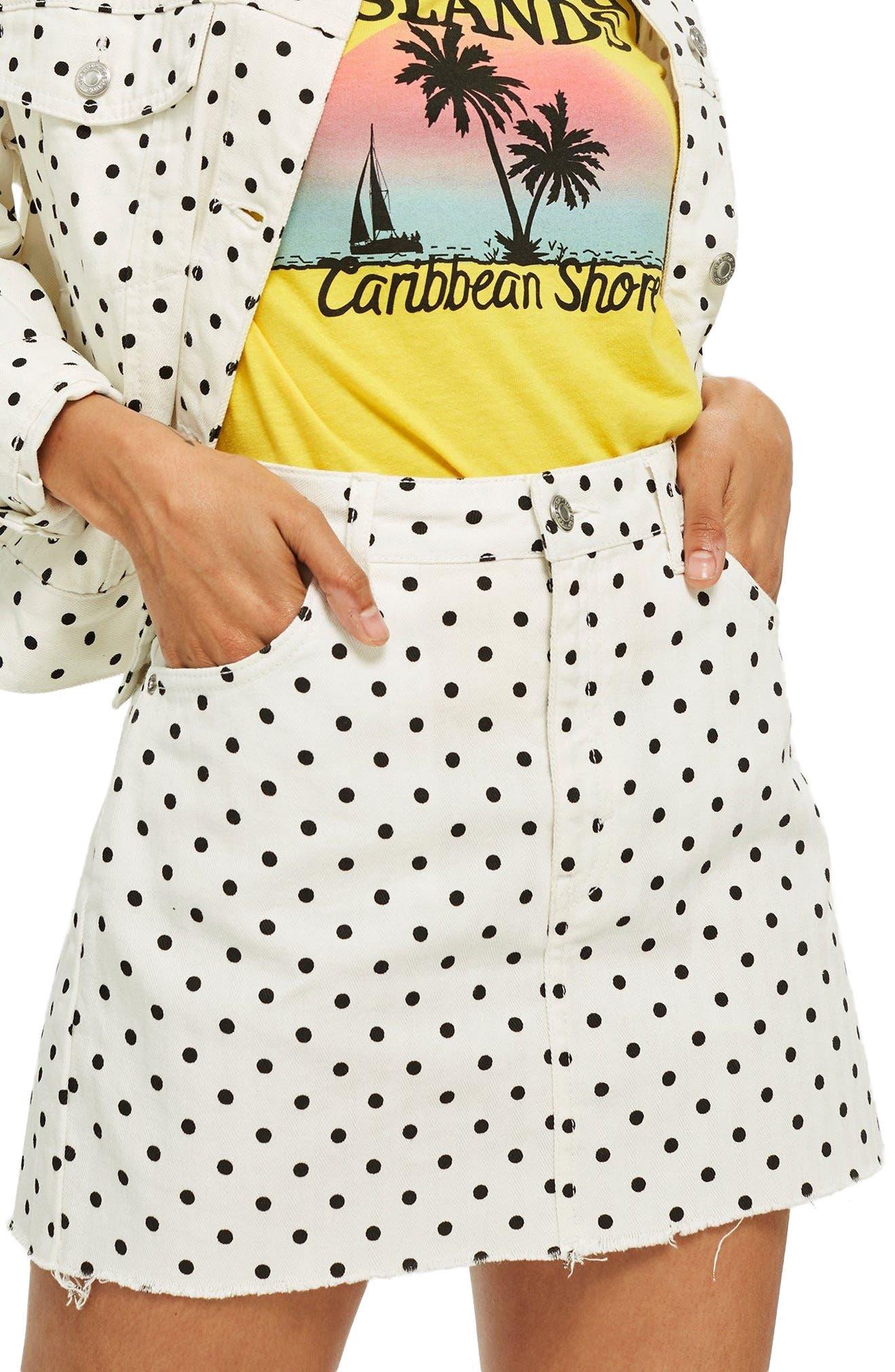 MOTO High Waist Denim Skirt,                         Main,                         color, 100