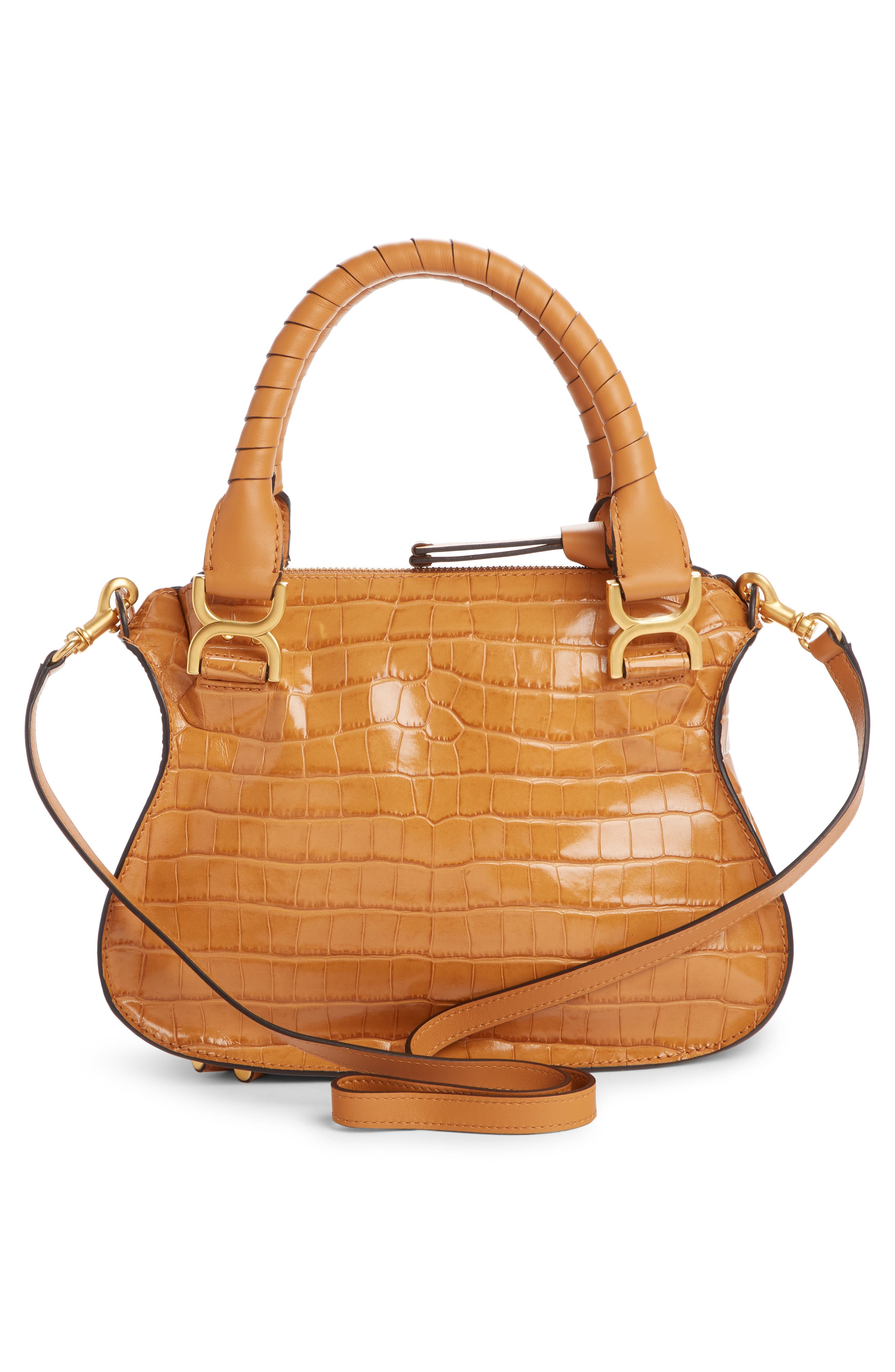 Small Marcie Croc Embossed Leather Satchel,                             Alternate thumbnail 3, color,                             AUTUMNAL BROWN