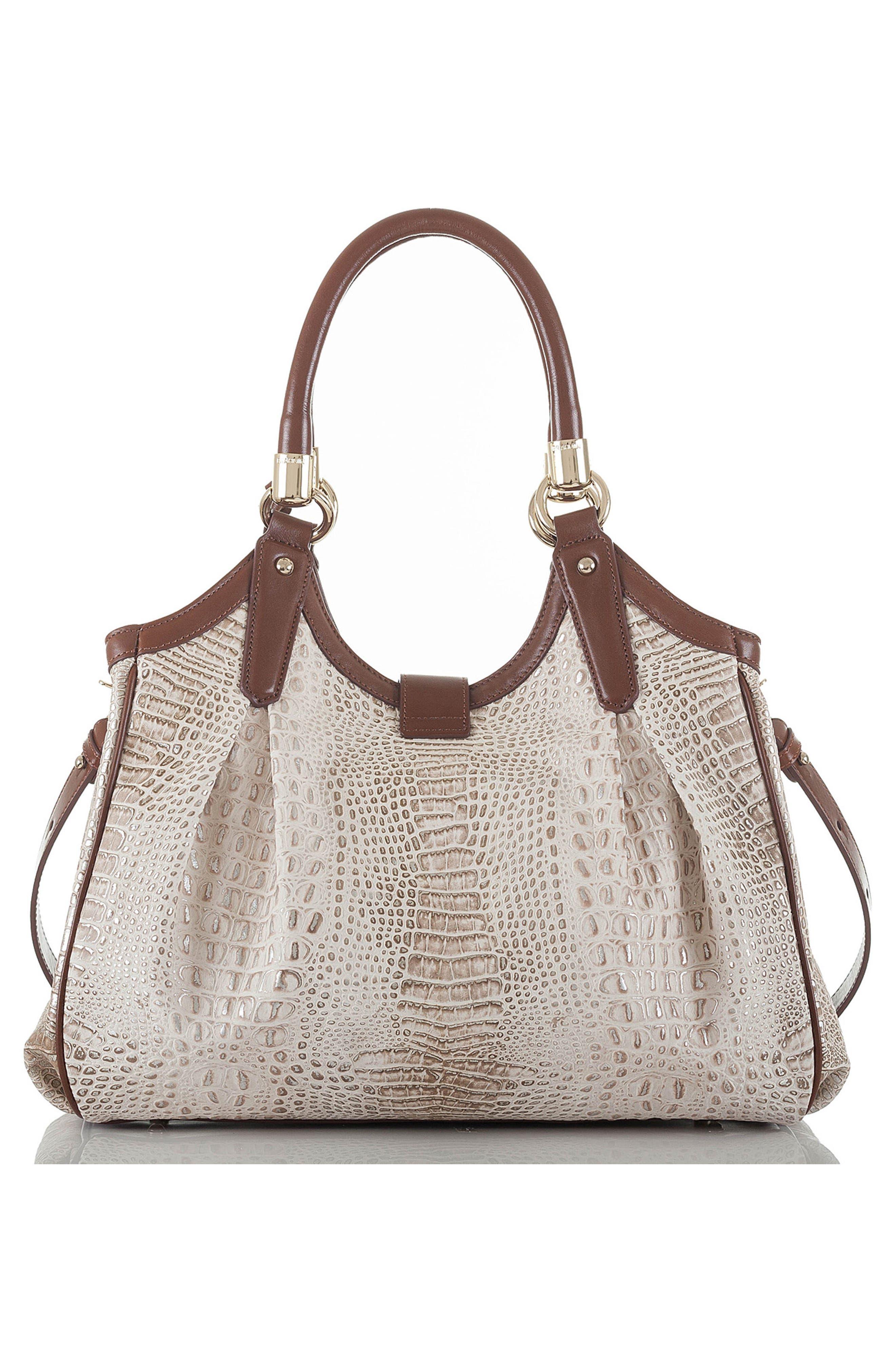 Elisa Croc Embossed Leather Shoulder Bag,                             Alternate thumbnail 2, color,                             BEIGE