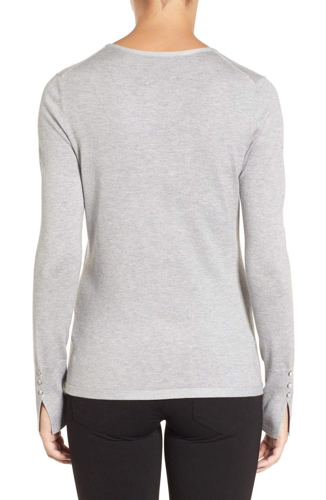 Cuff Detail Silk Blend Crewneck Sweater,                             Alternate thumbnail 2, color,                             030