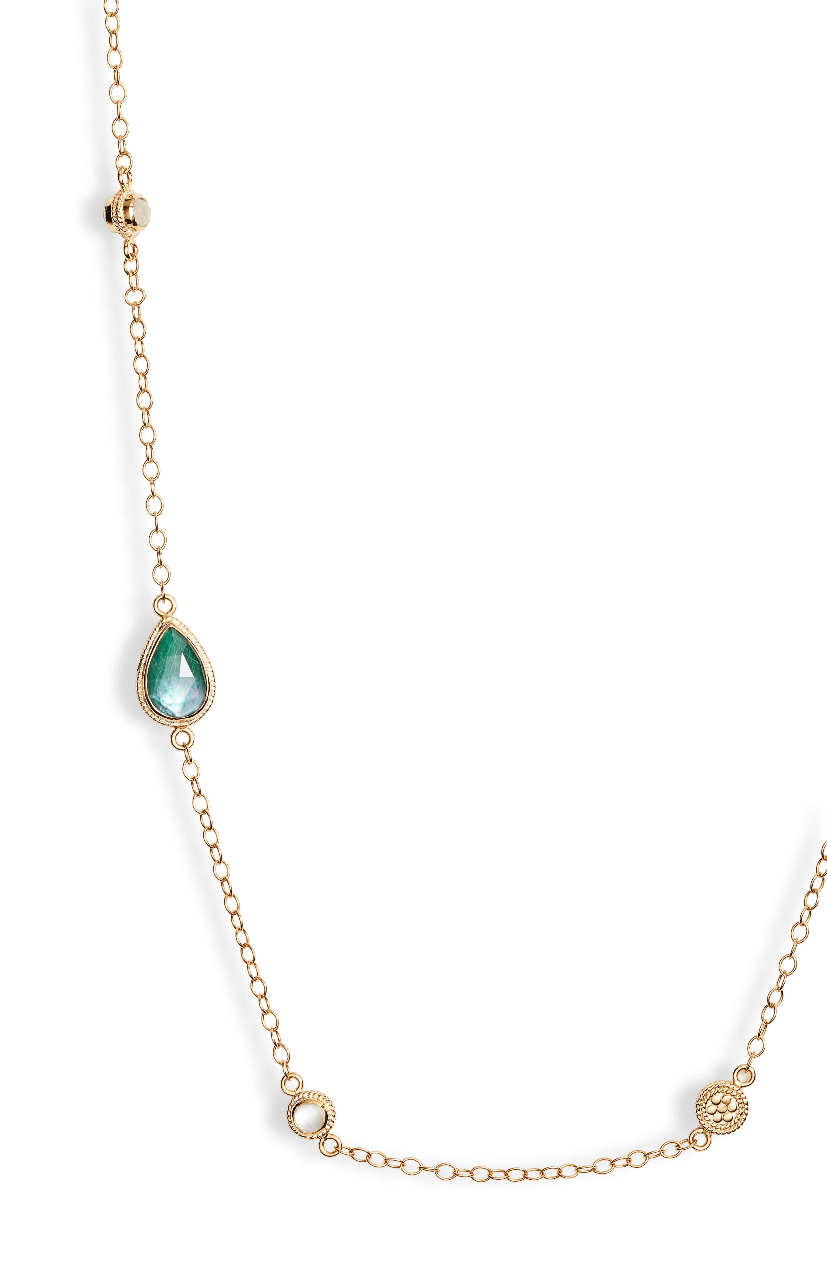 ANNA BECK,                             Malachite & Mother of Pearl Station Necklace,                             Alternate thumbnail 2, color,                             GOLD/ MALACHITE/ MOP