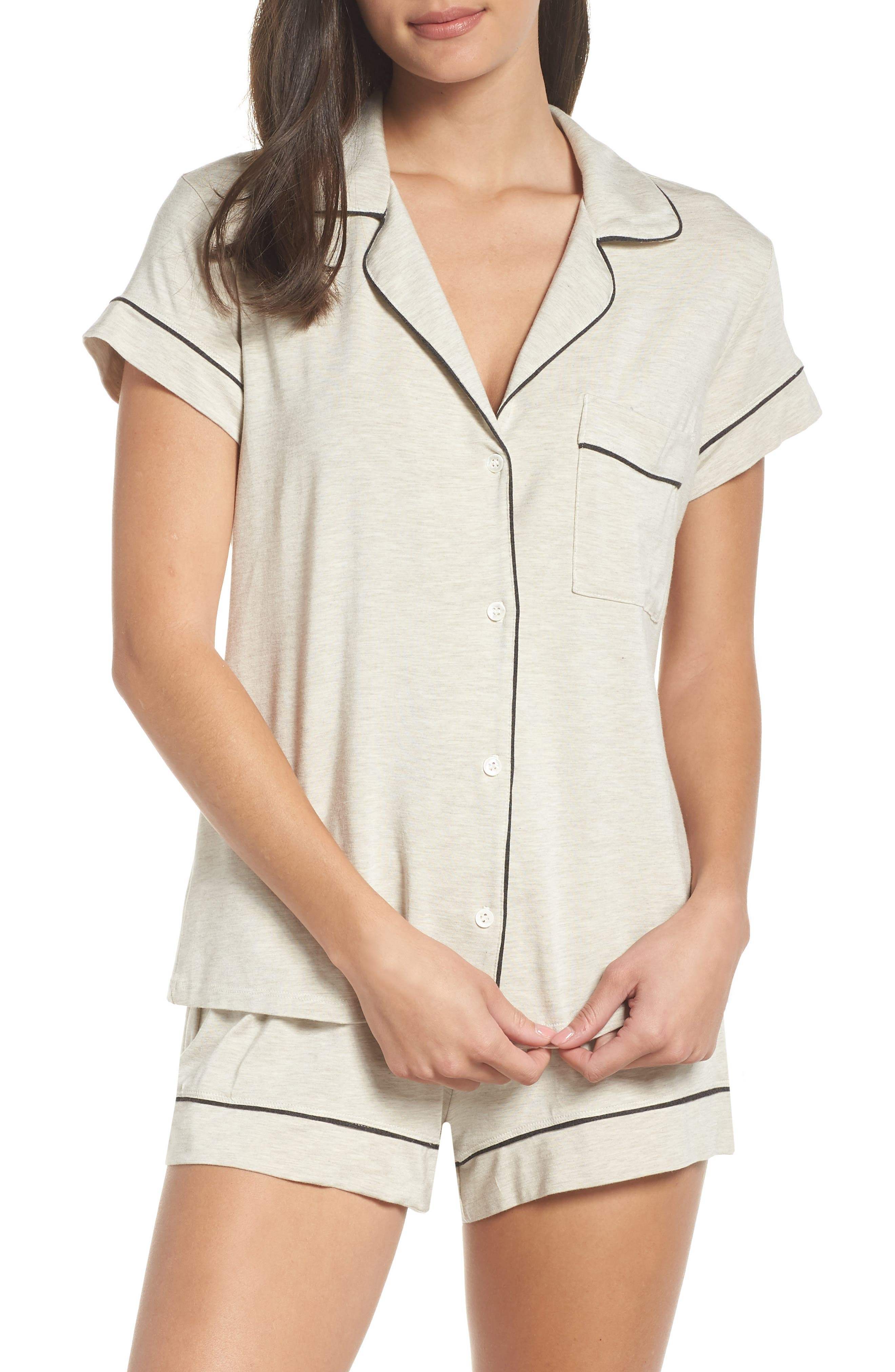 'Gisele' Shorty Pajamas,                             Main thumbnail 1, color,                             OATMEAL HEATHER/ CHARCOAL