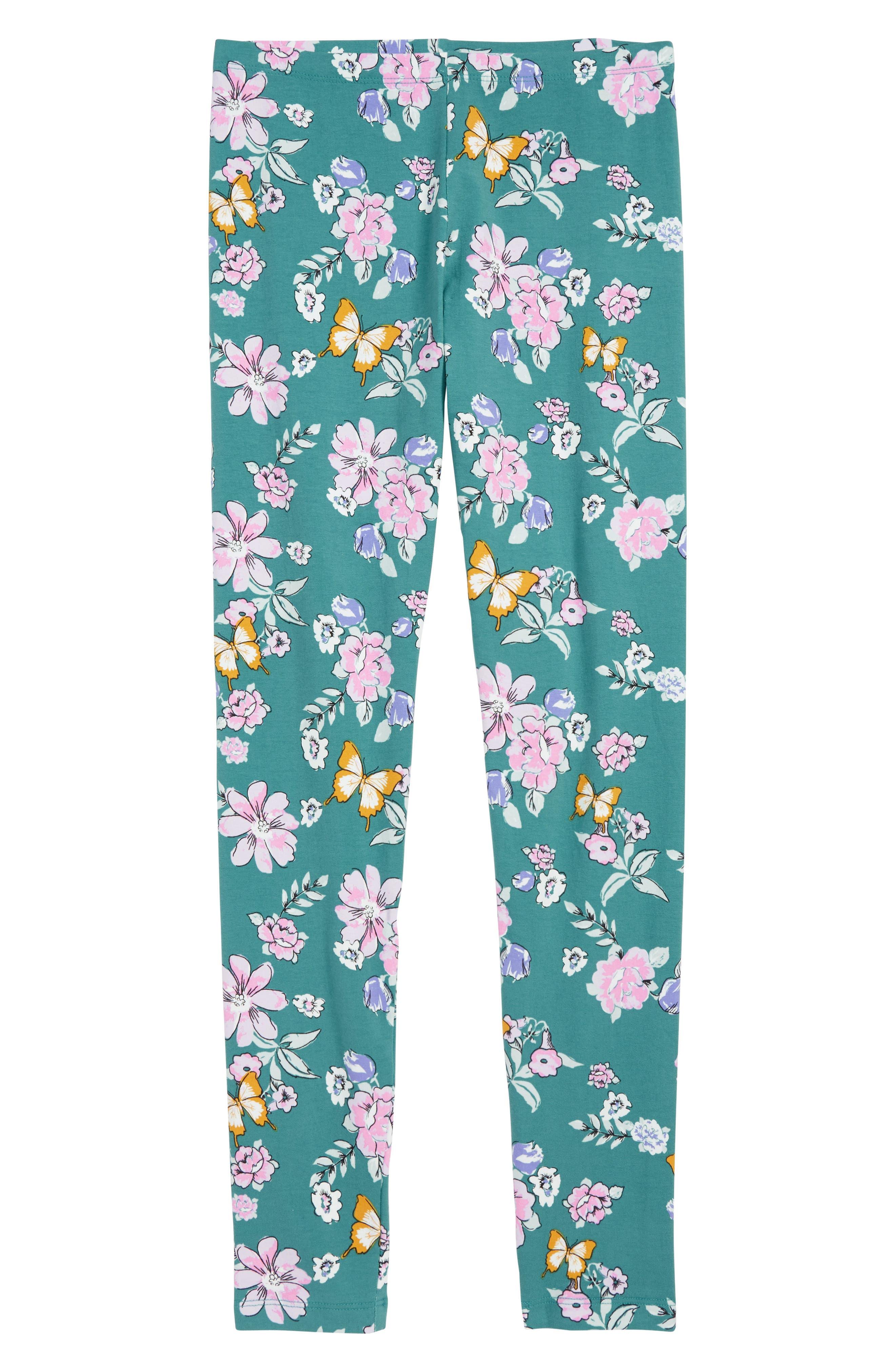 Lara Floral Blossom Leggings, Main, color, TEAL
