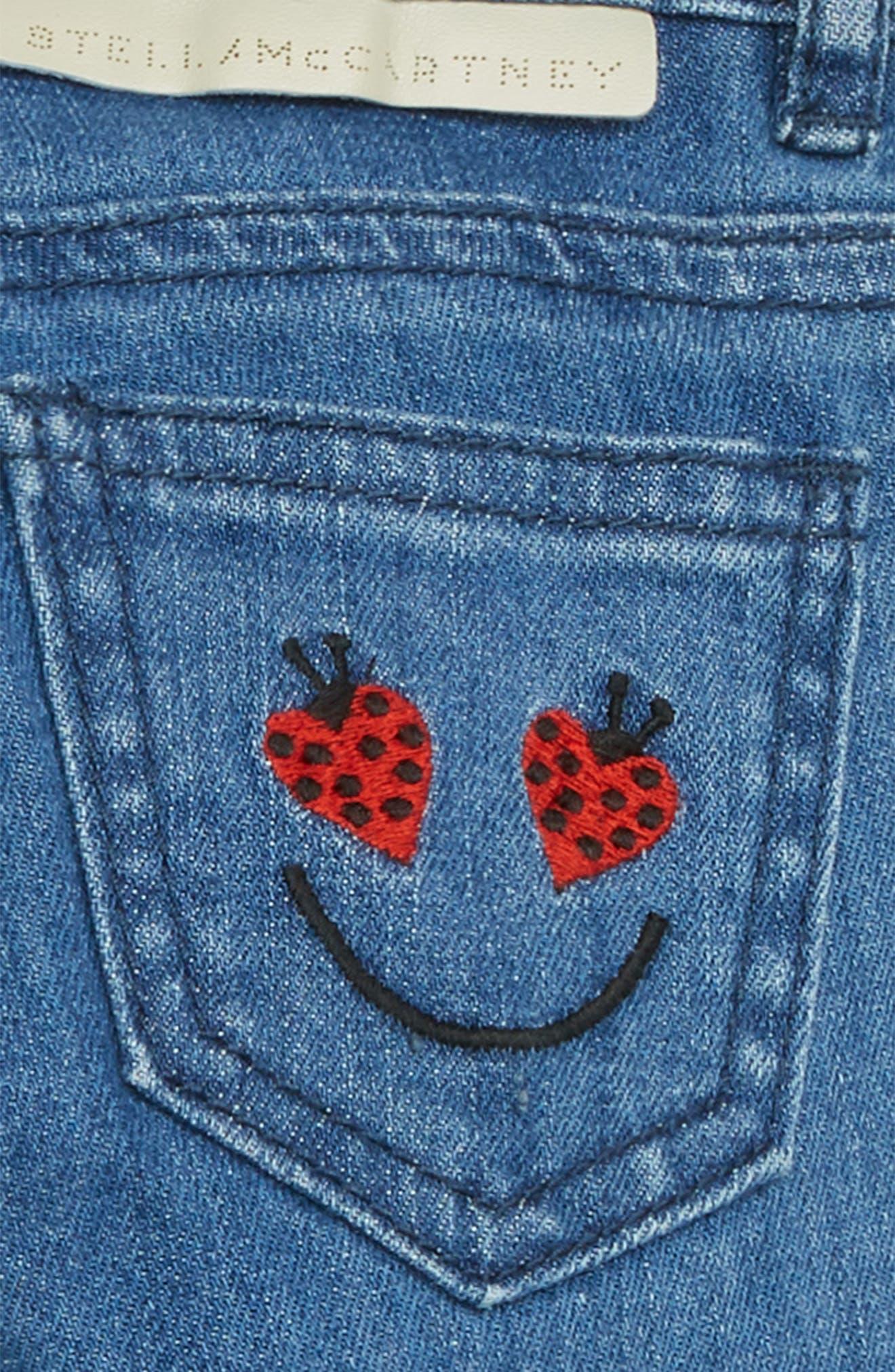 Heart Patch Straight Leg Jeans,                             Alternate thumbnail 3, color,                             BLUE
