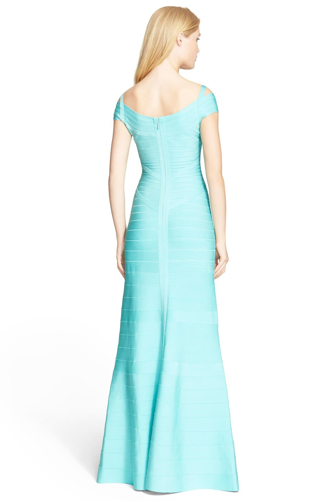 Cold Shoulder Flare Bandage Gown,                             Alternate thumbnail 3, color,                             441