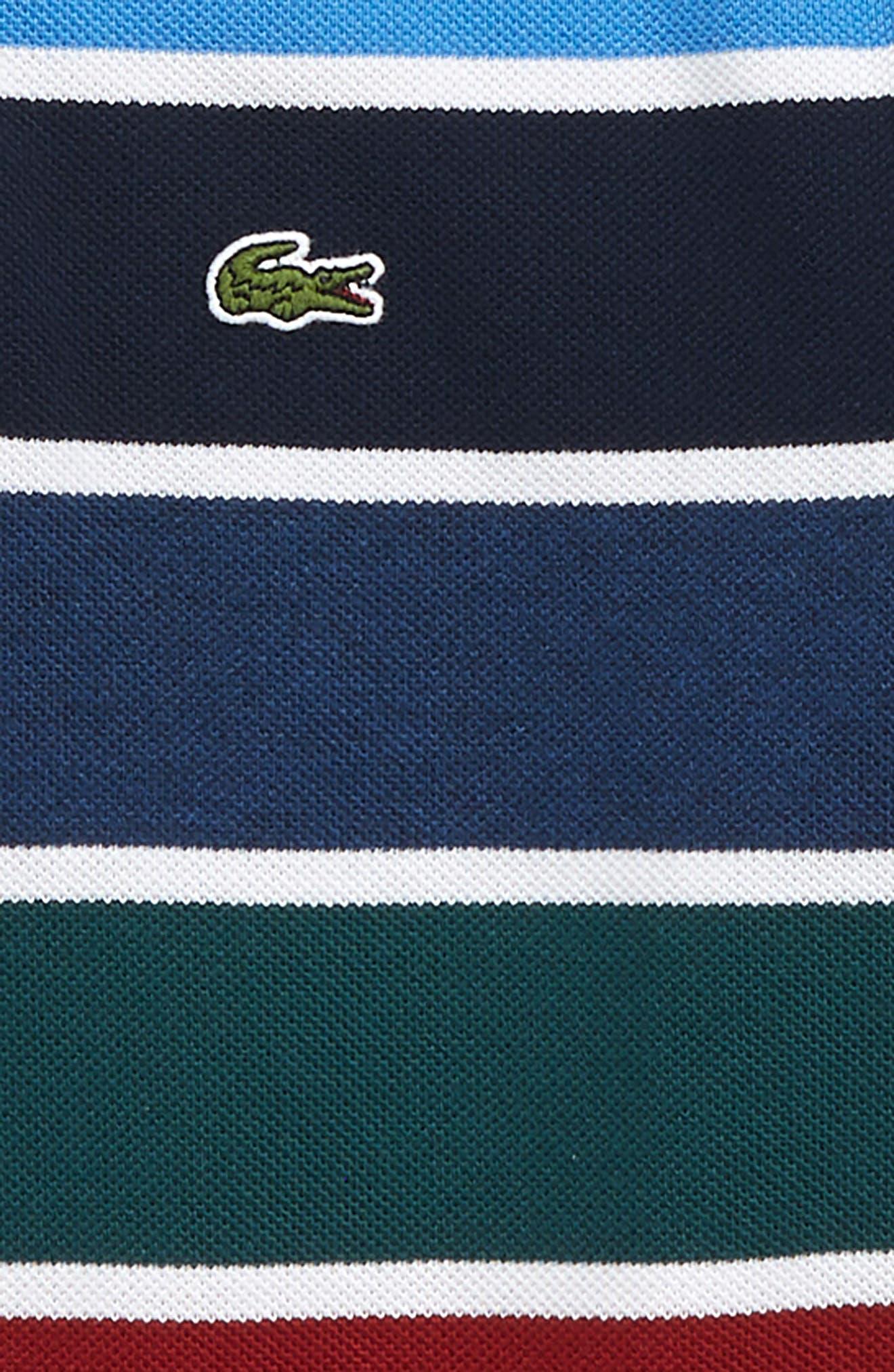 LACOSTE,                             Multicolor Stripe Piqué Polo,                             Alternate thumbnail 2, color,                             BLUE / WHITE