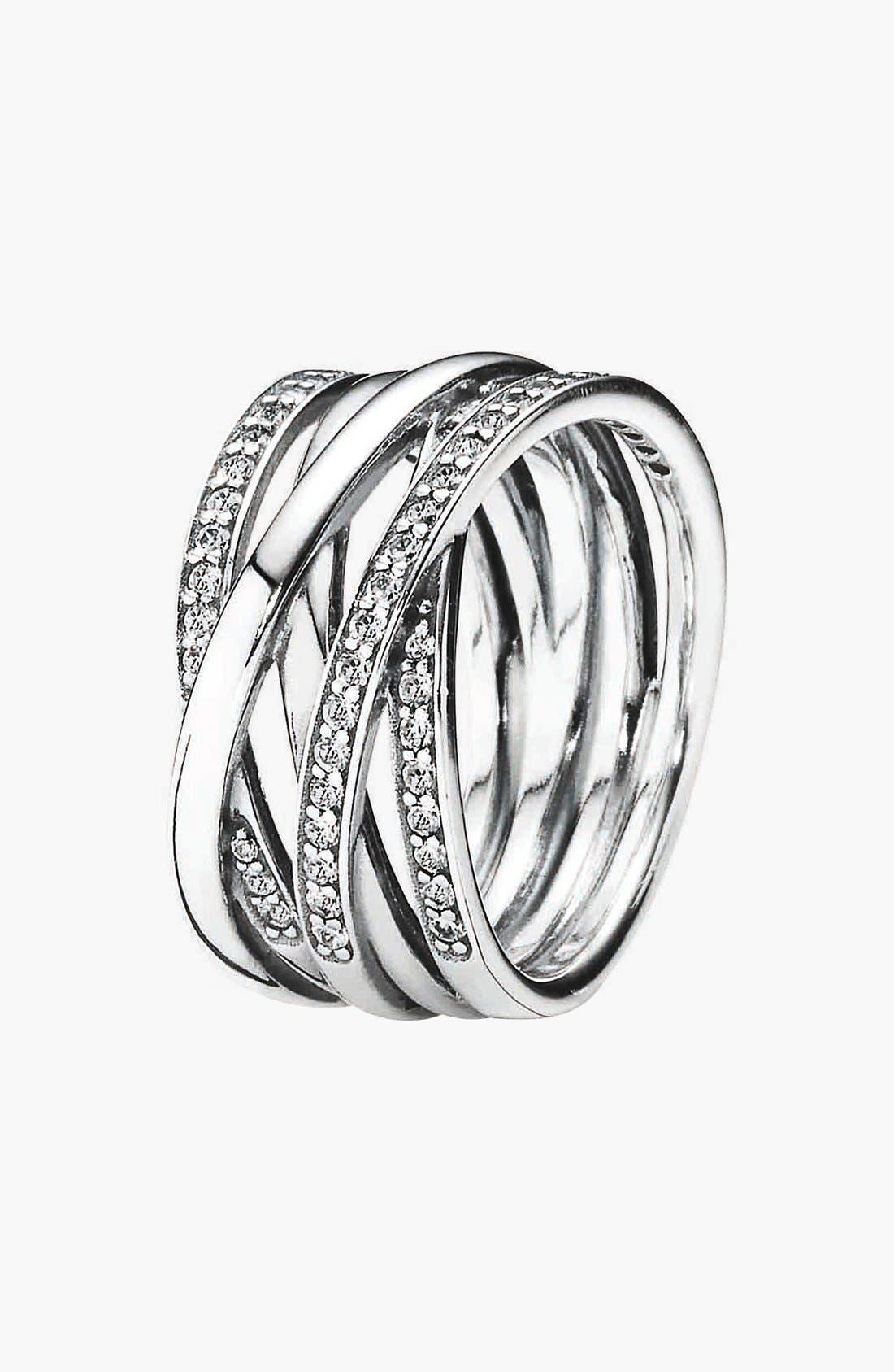 PANDORA,                             'Entwined' Stack Ring,                             Main thumbnail 1, color,                             040