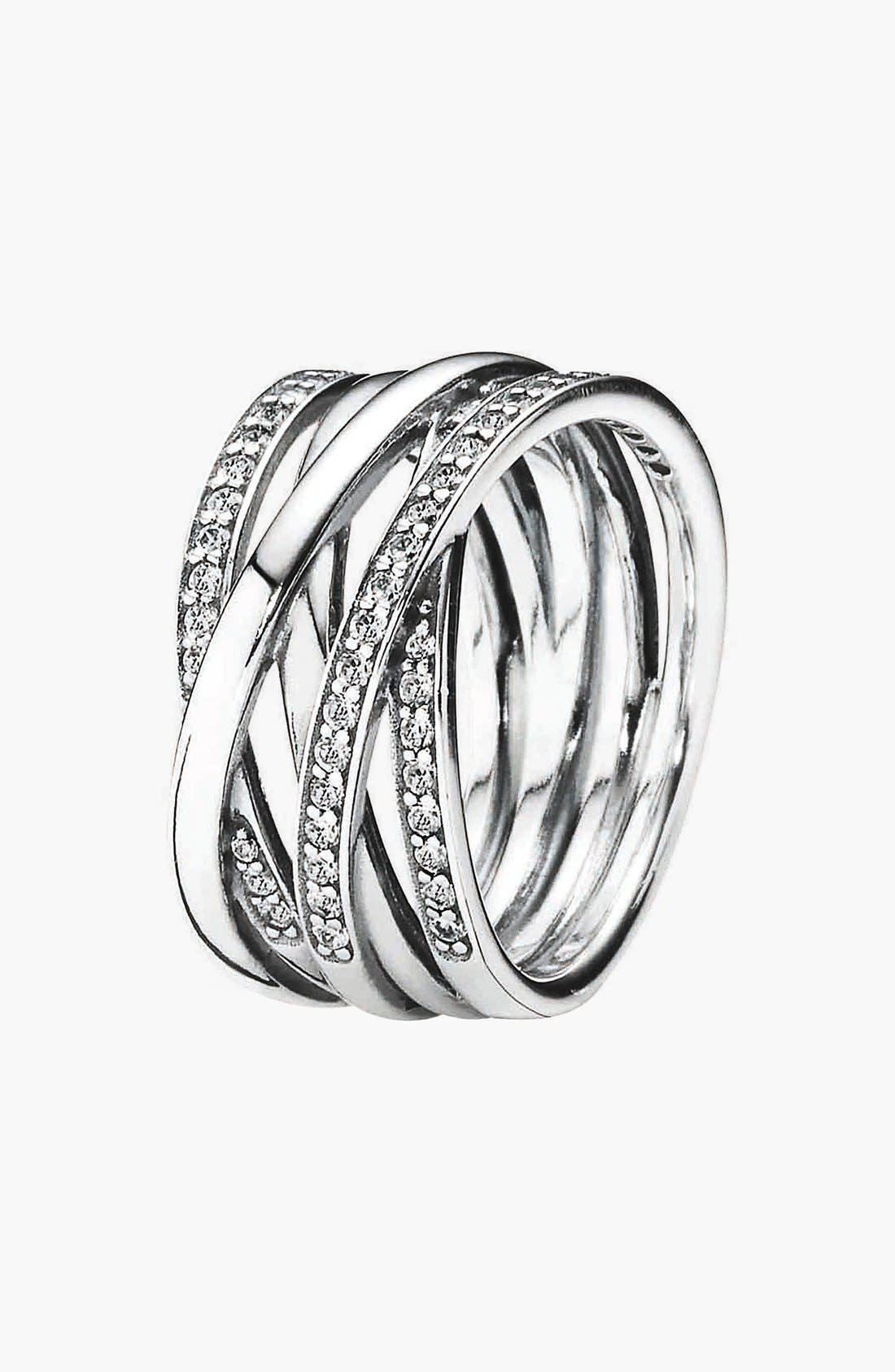 PANDORA 'Entwined' Stack Ring, Main, color, 040