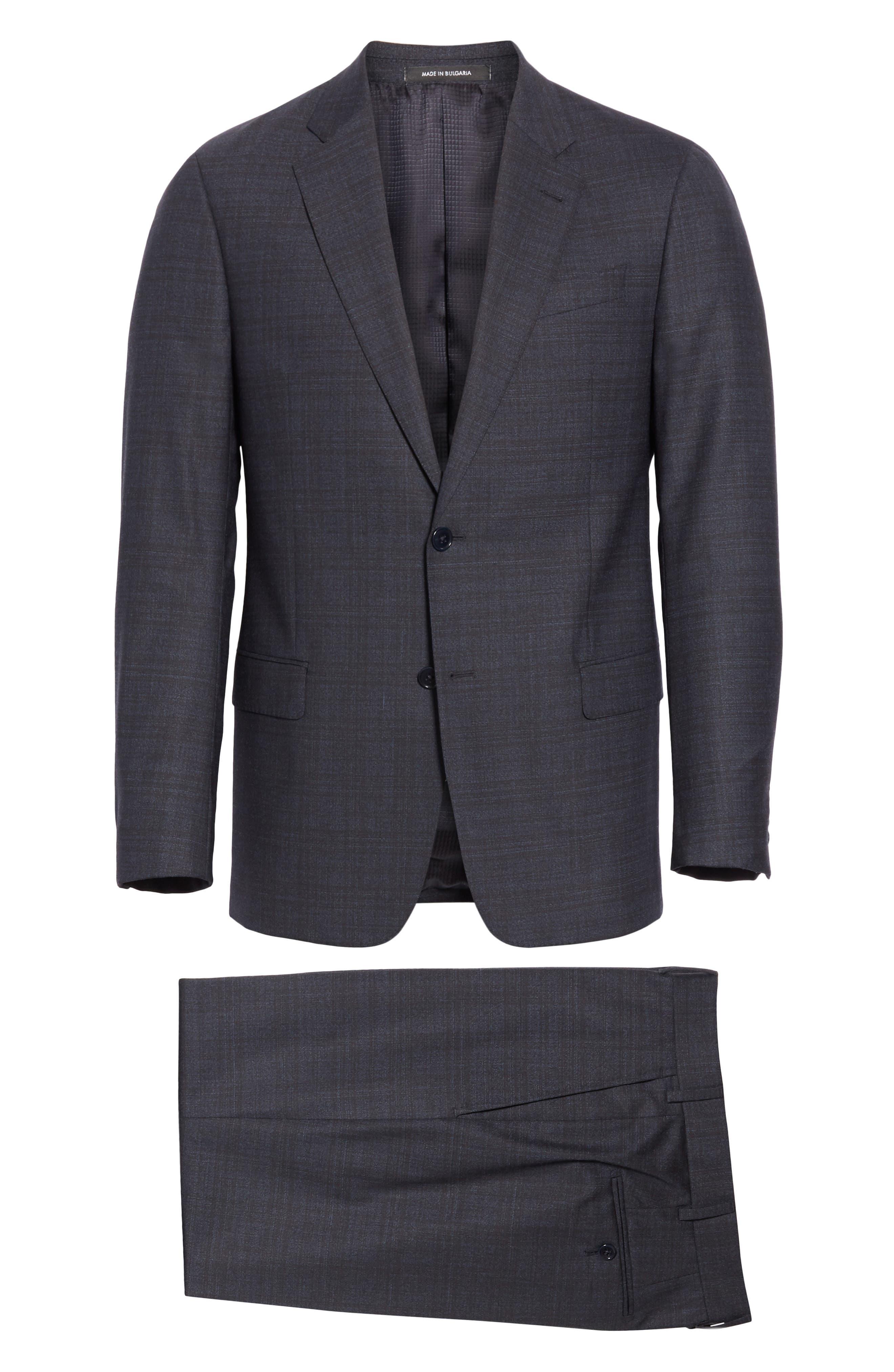 G-Line Trim Fit Stretch Plaid Wool Suit,                             Alternate thumbnail 8, color,                             NAVY/ BROWN