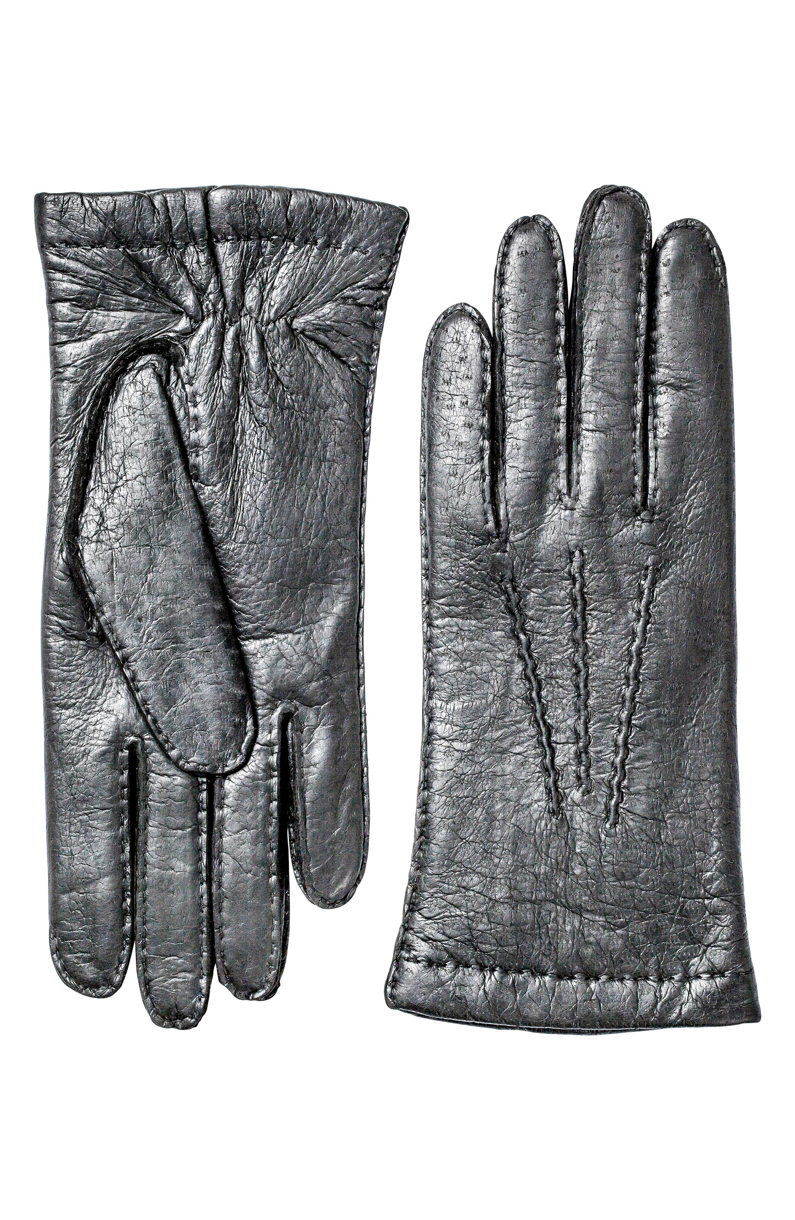 Hestra Peccary Leather Gloves, Black