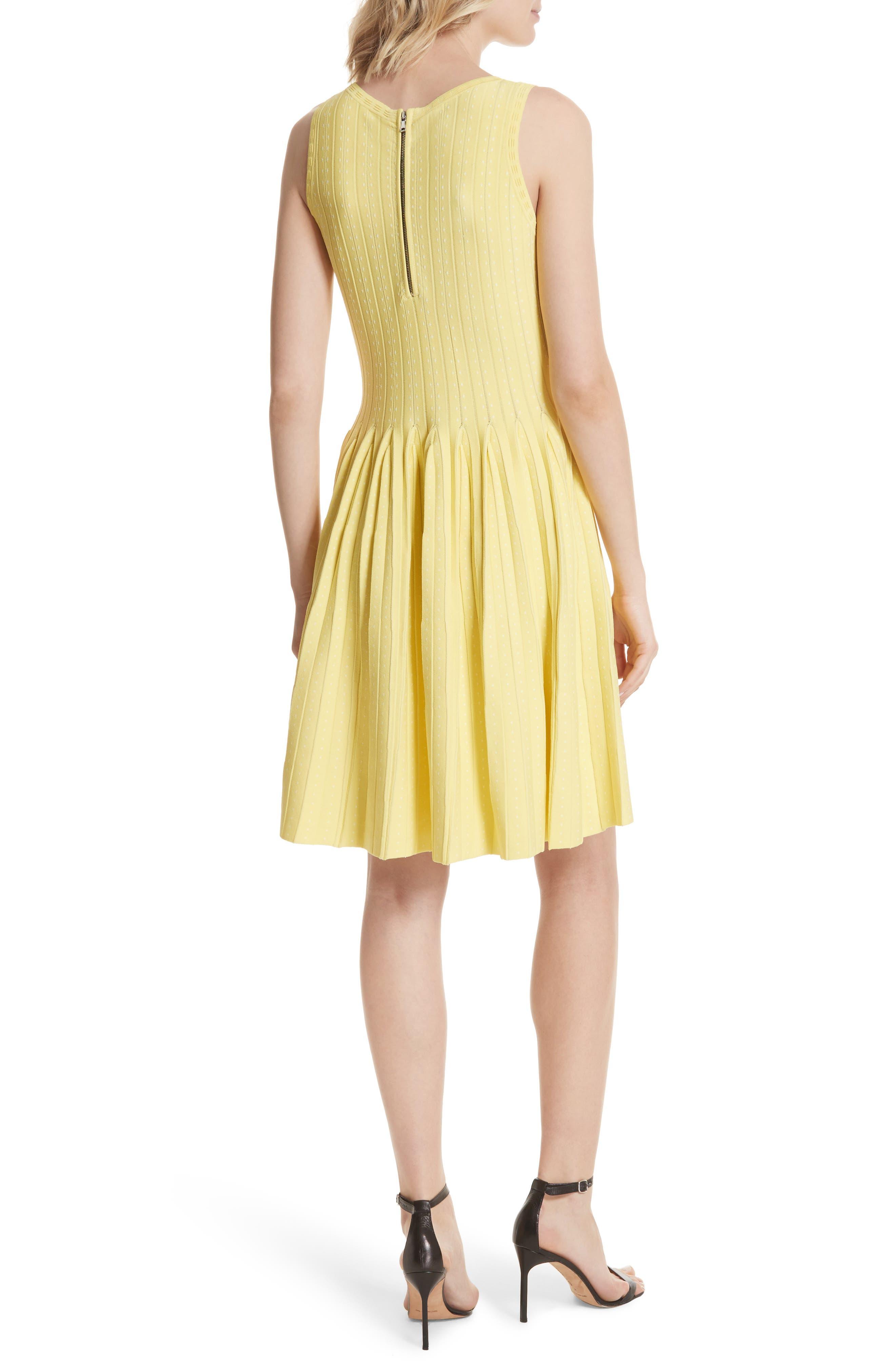 Dot Pleat Fit & Flare Dress,                             Alternate thumbnail 2, color,                             LEMON/ WHITE