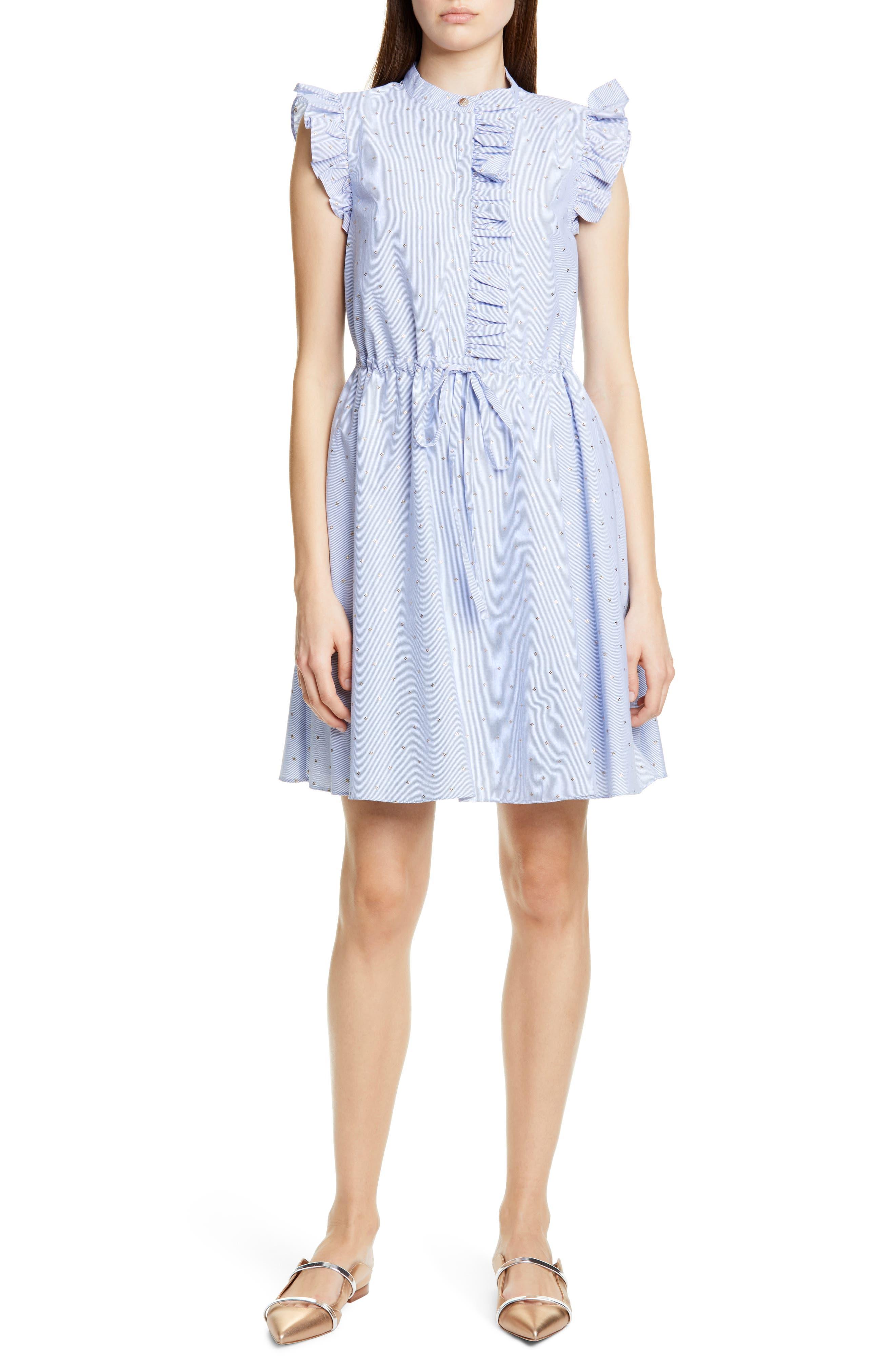 Ted Baker London Beyonc Ruffle Trim A-Line Dress, White