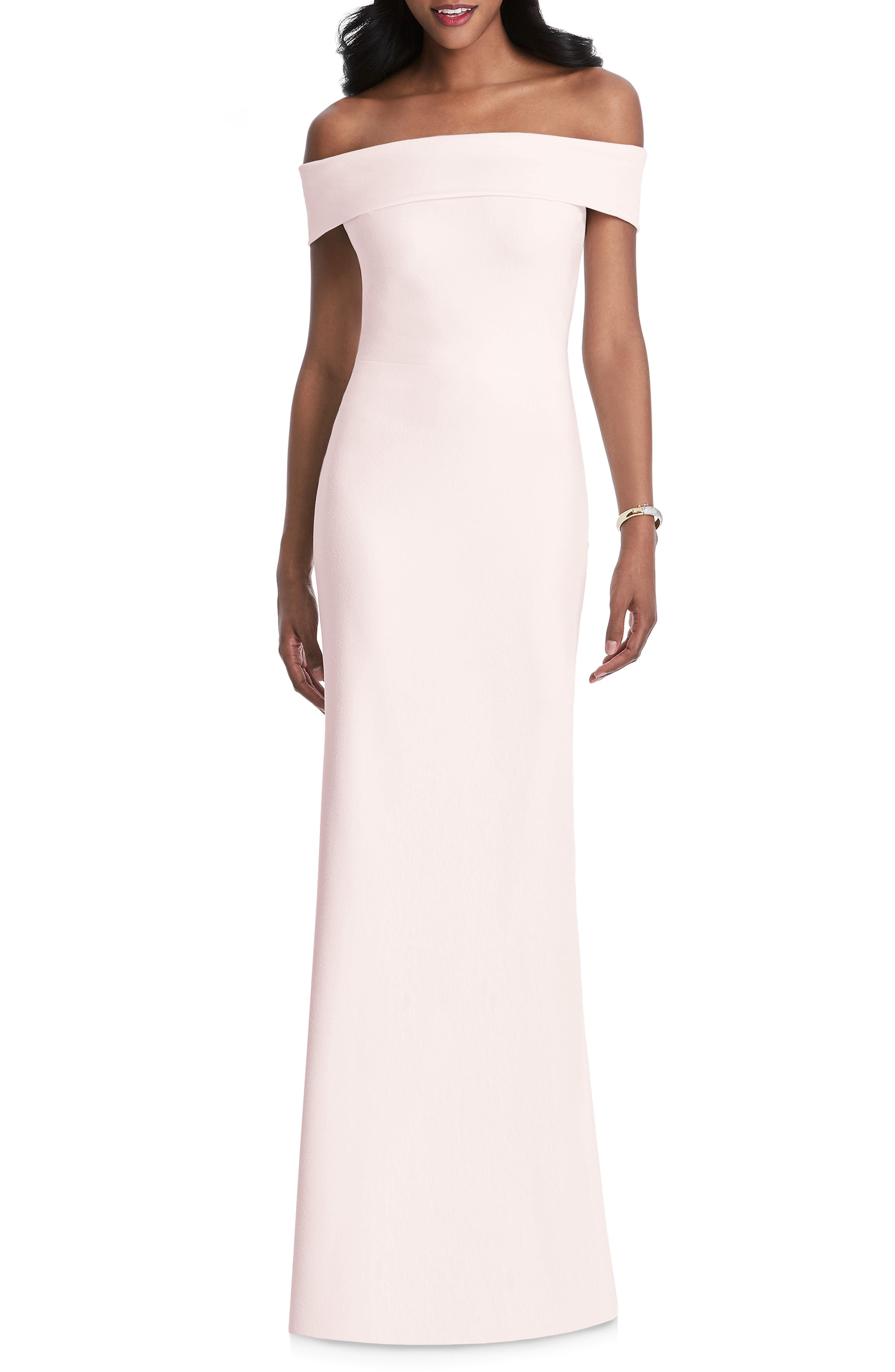 After Six Off The Shoulder Stretch Crepe Gown, Pink
