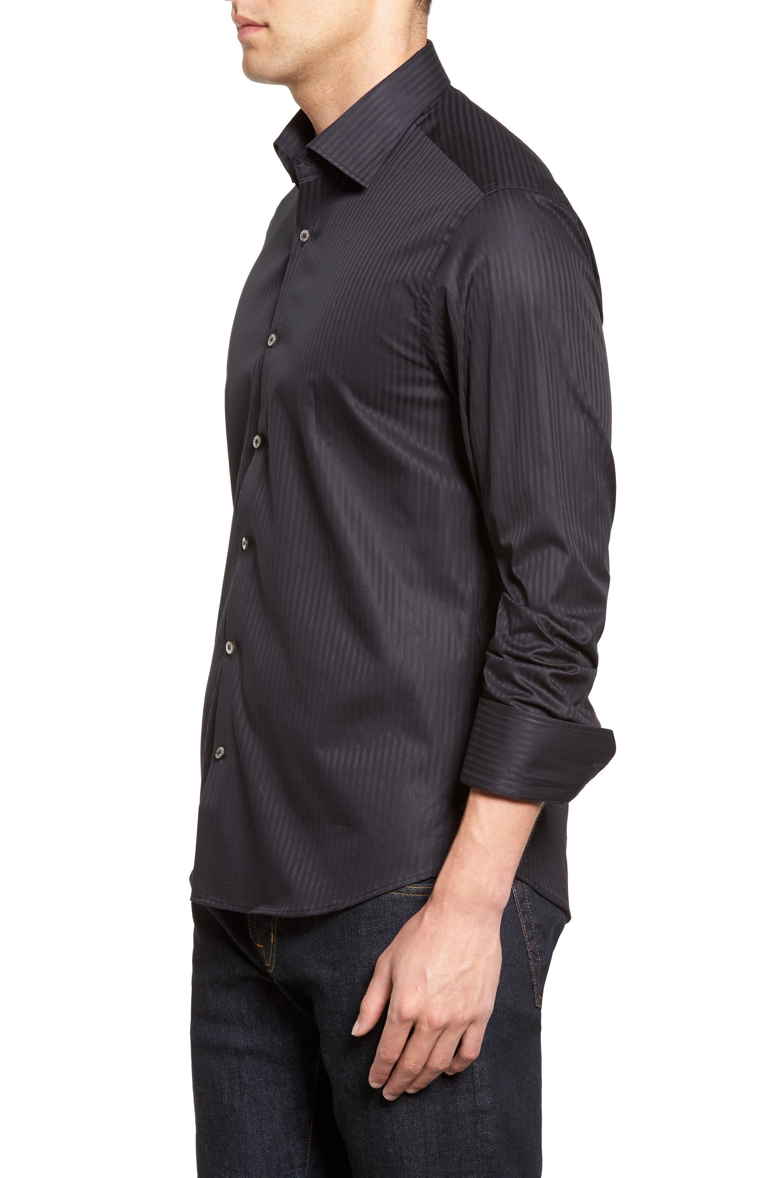 Tonal Stripe Sport Shirt,                             Alternate thumbnail 3, color,                             BLACK