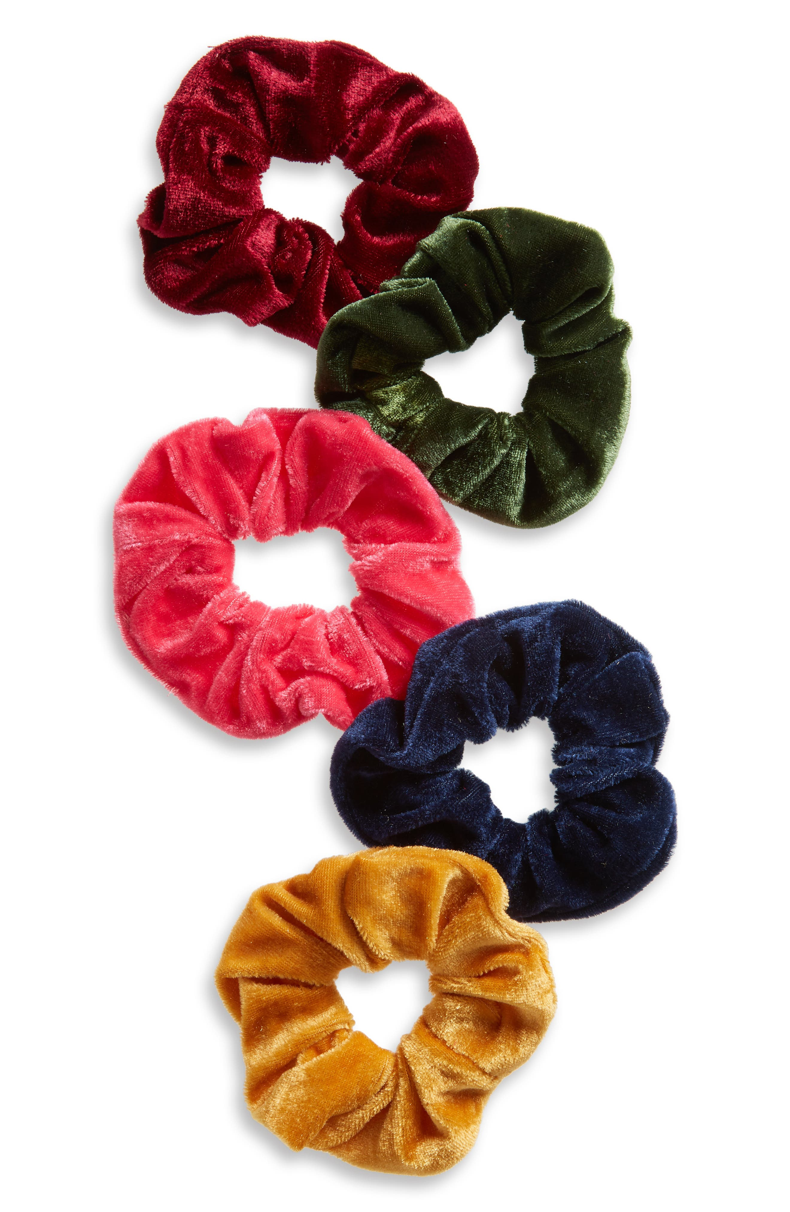 5-Pack Velvet Scrunchies,                             Main thumbnail 1, color,                             400