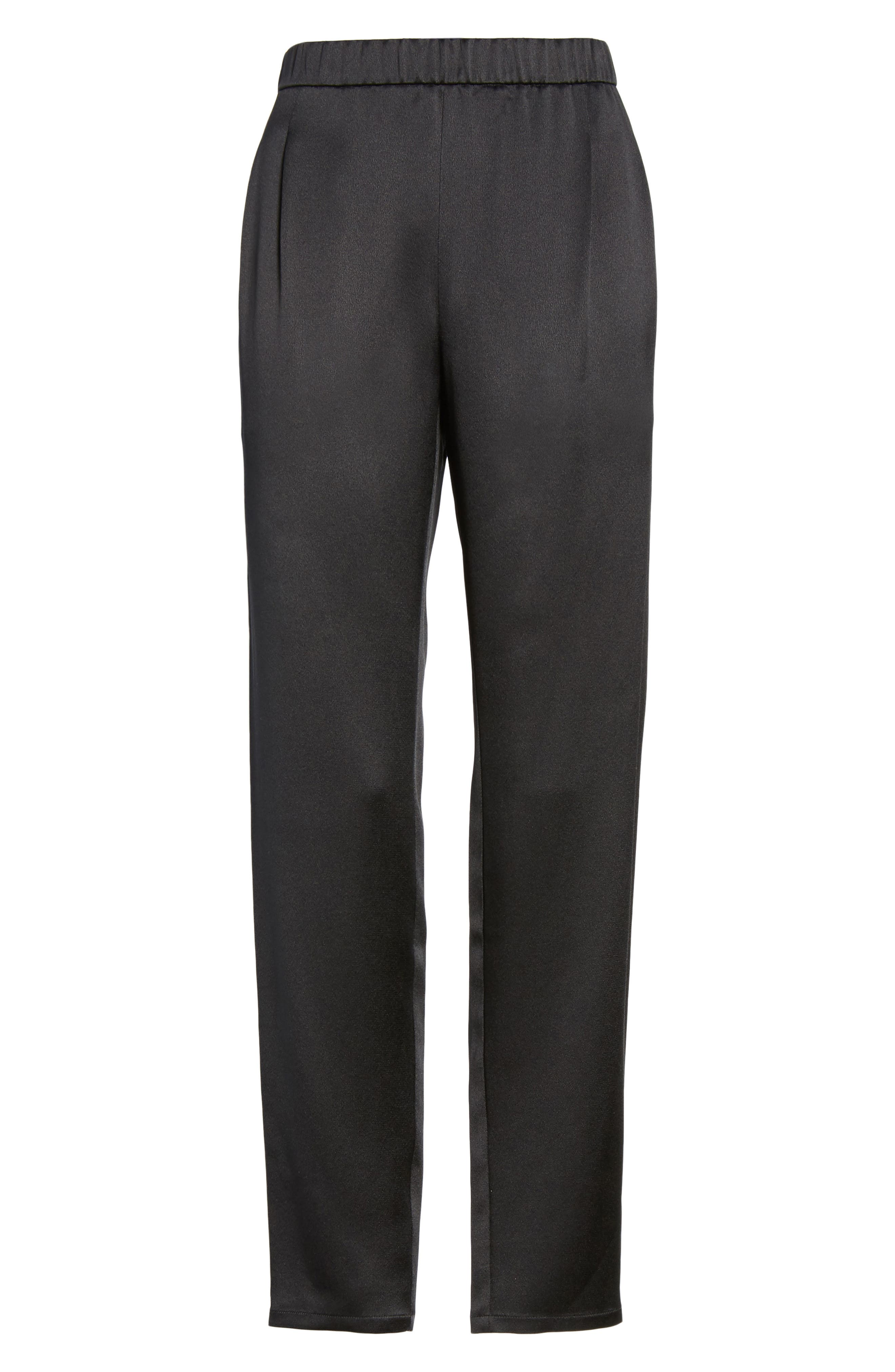Slouchy Silk Pants,                             Alternate thumbnail 6, color,                             001