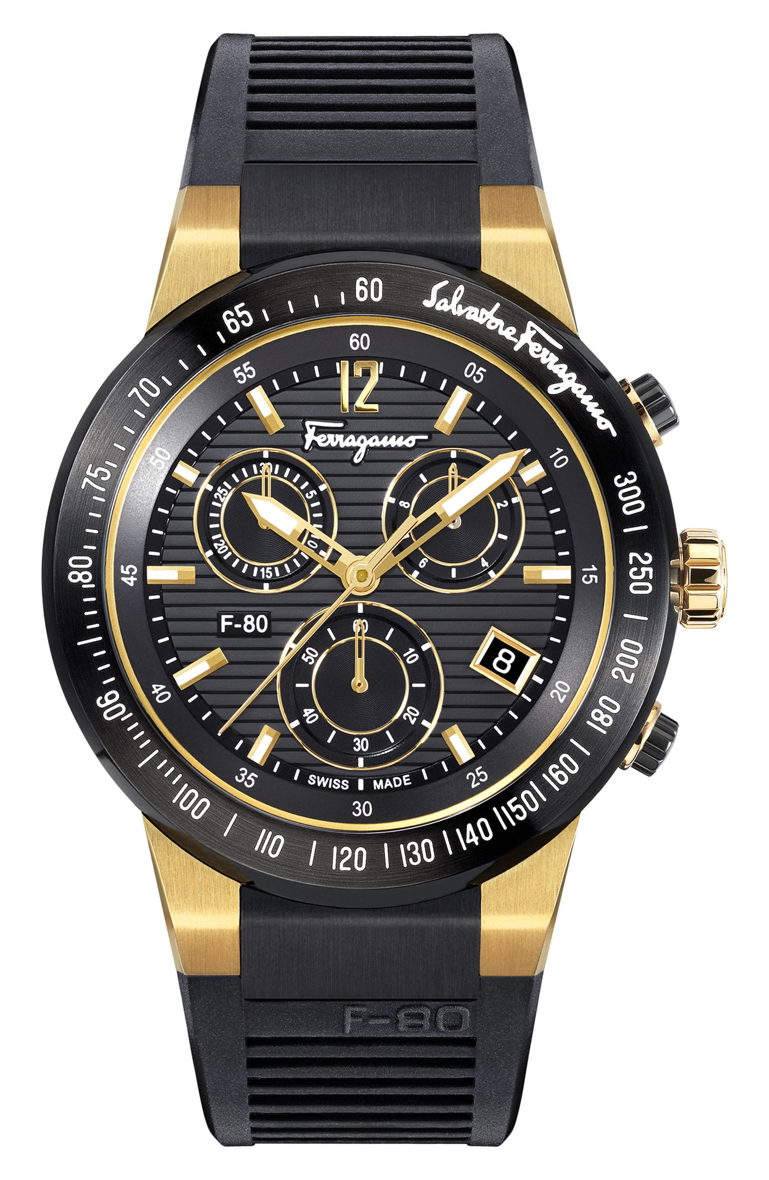 F-80 Chronograph Rubber Strap Watch, 44mm,                         Main,                         color, BLACK/ GOLD
