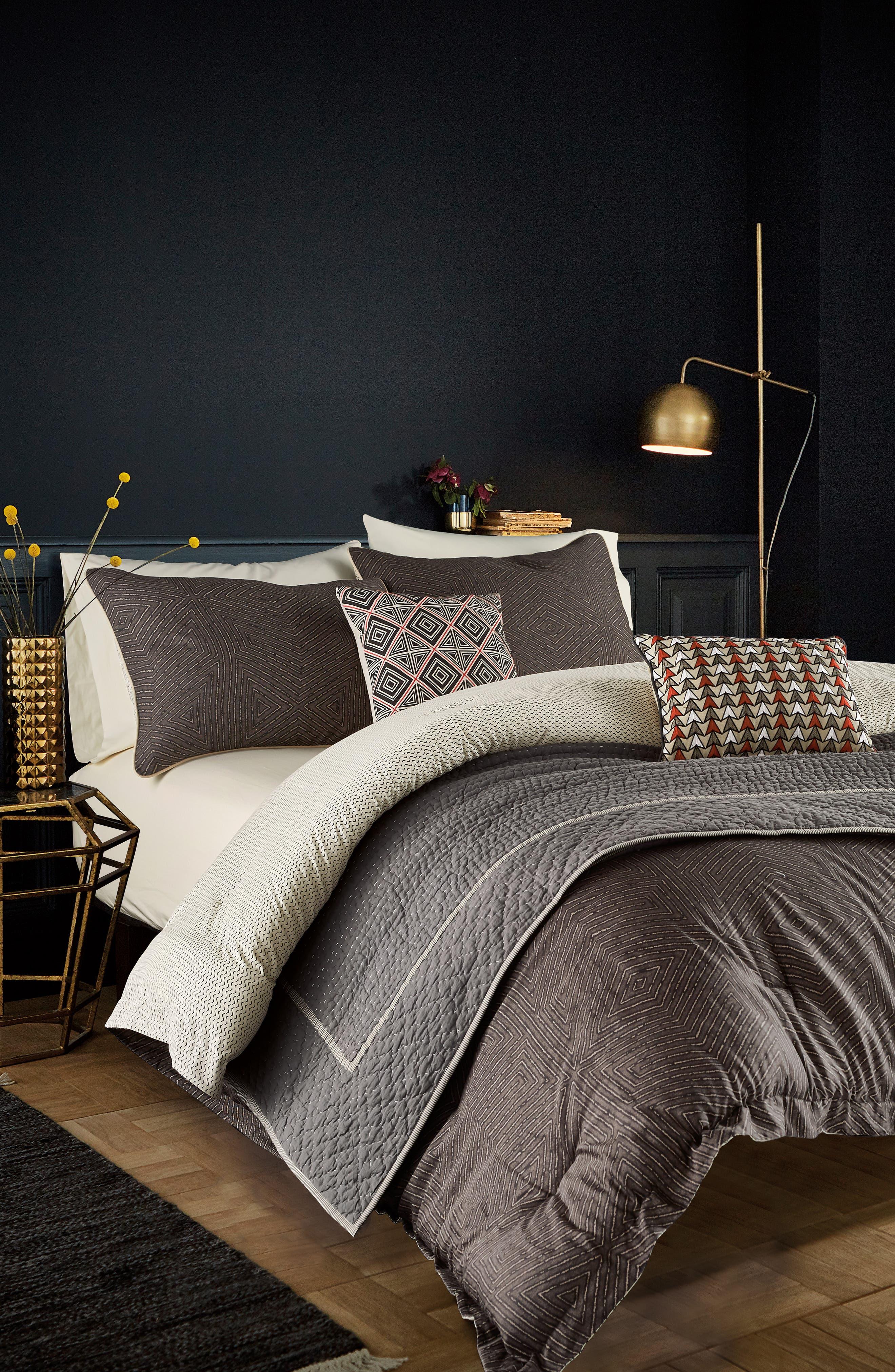BEDECK,                             Arro Comforter, Sham & Accent Pillow Set,                             Alternate thumbnail 4, color,                             CHARCOAL