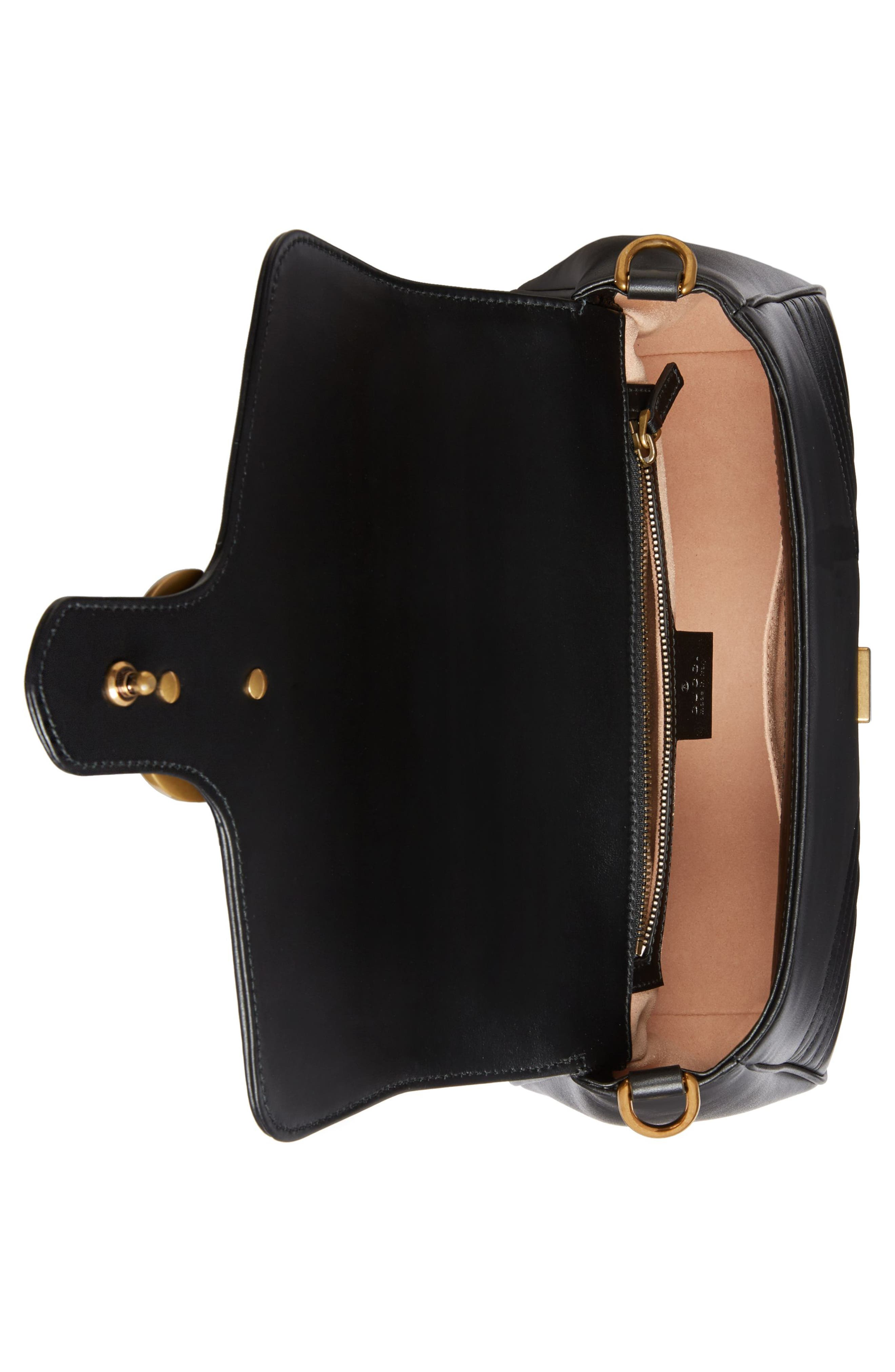 Small GG Marmont 2.0 Matelassé Leather Top Handle Bag,                             Alternate thumbnail 3, color,                             NERO
