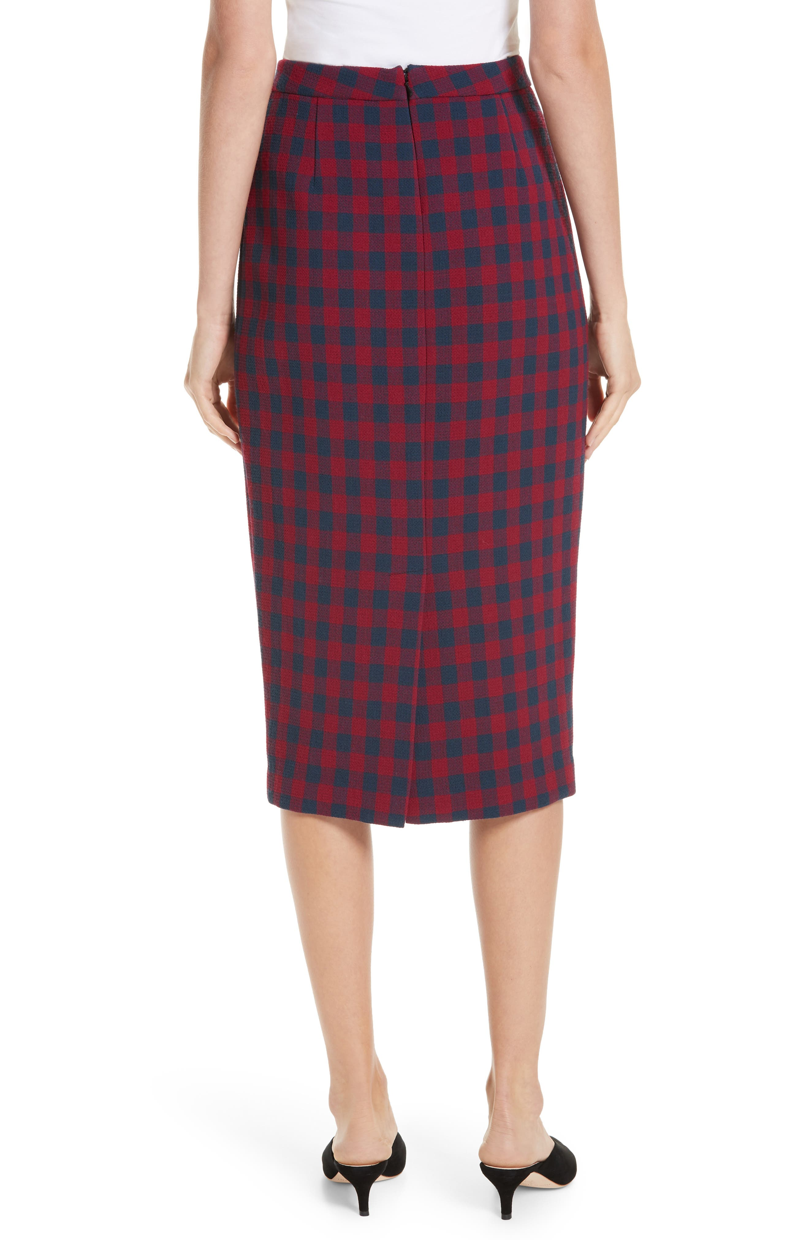 Thea Plaid Wool Pencil Skirt,                             Alternate thumbnail 2, color,                             BERRY/ NAVY