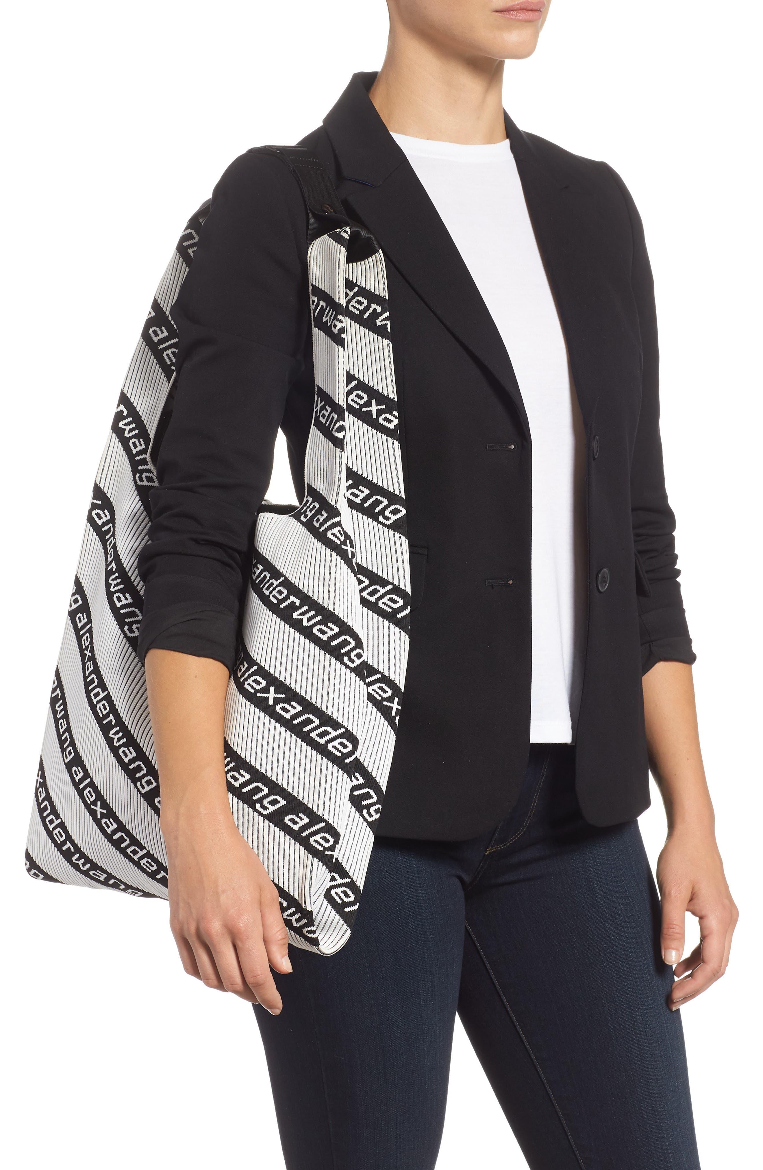 Logo Knit Jacquard Shopper,                             Alternate thumbnail 2, color,                             BLACK/ WHITE