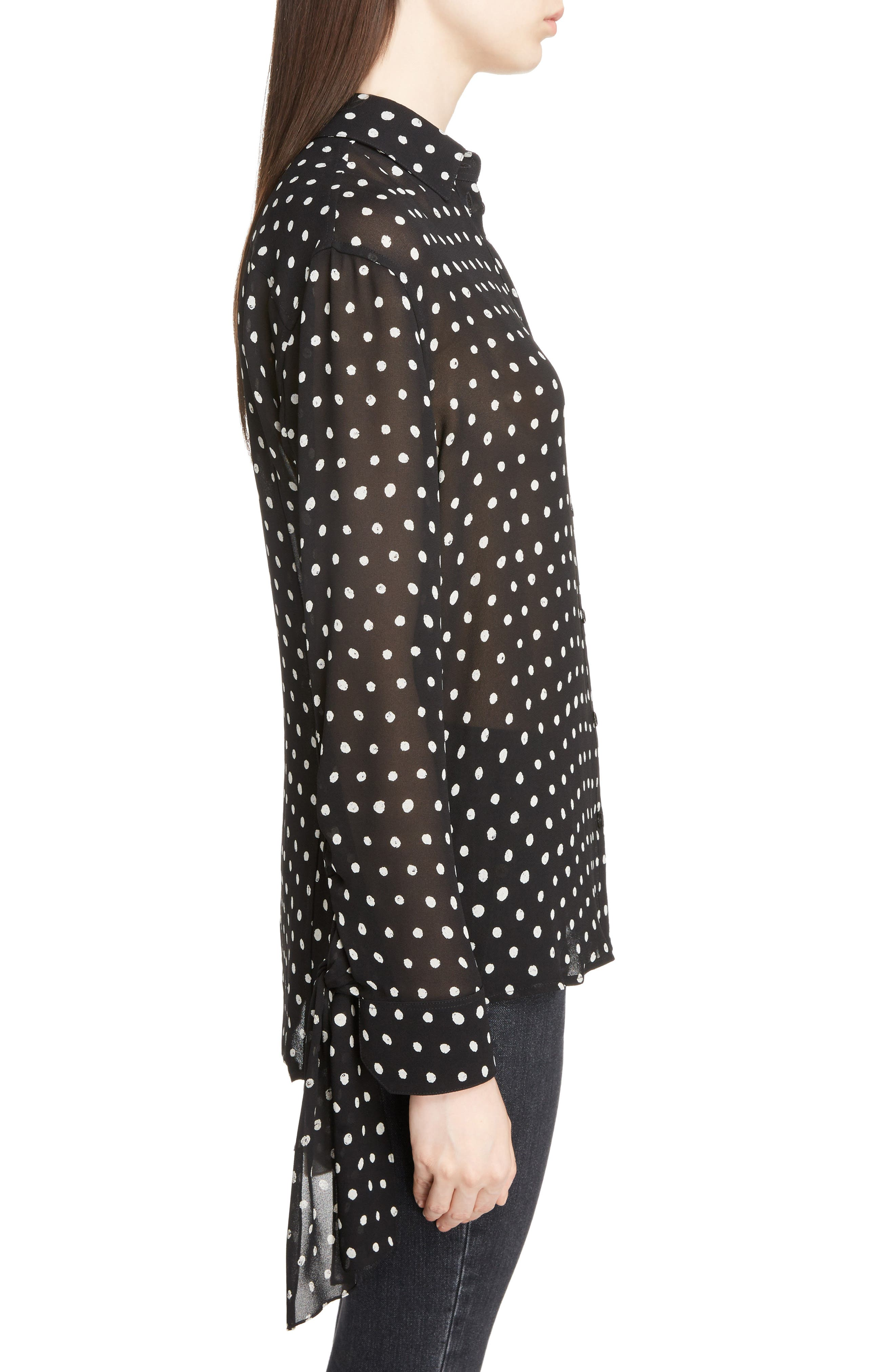 Tie Cuff Polka Dot Blouse,                             Alternate thumbnail 3, color,                             007