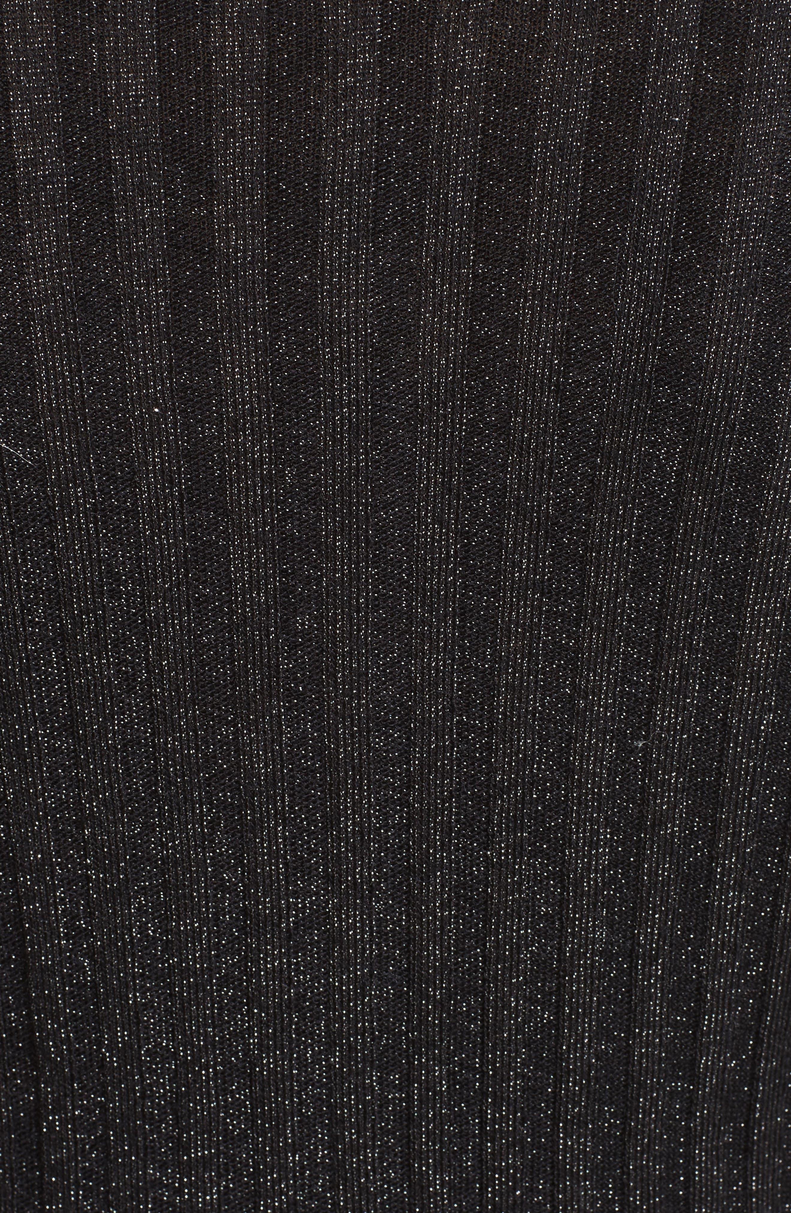 Metallic Ribbed Cardigan,                             Alternate thumbnail 5, color,                             001