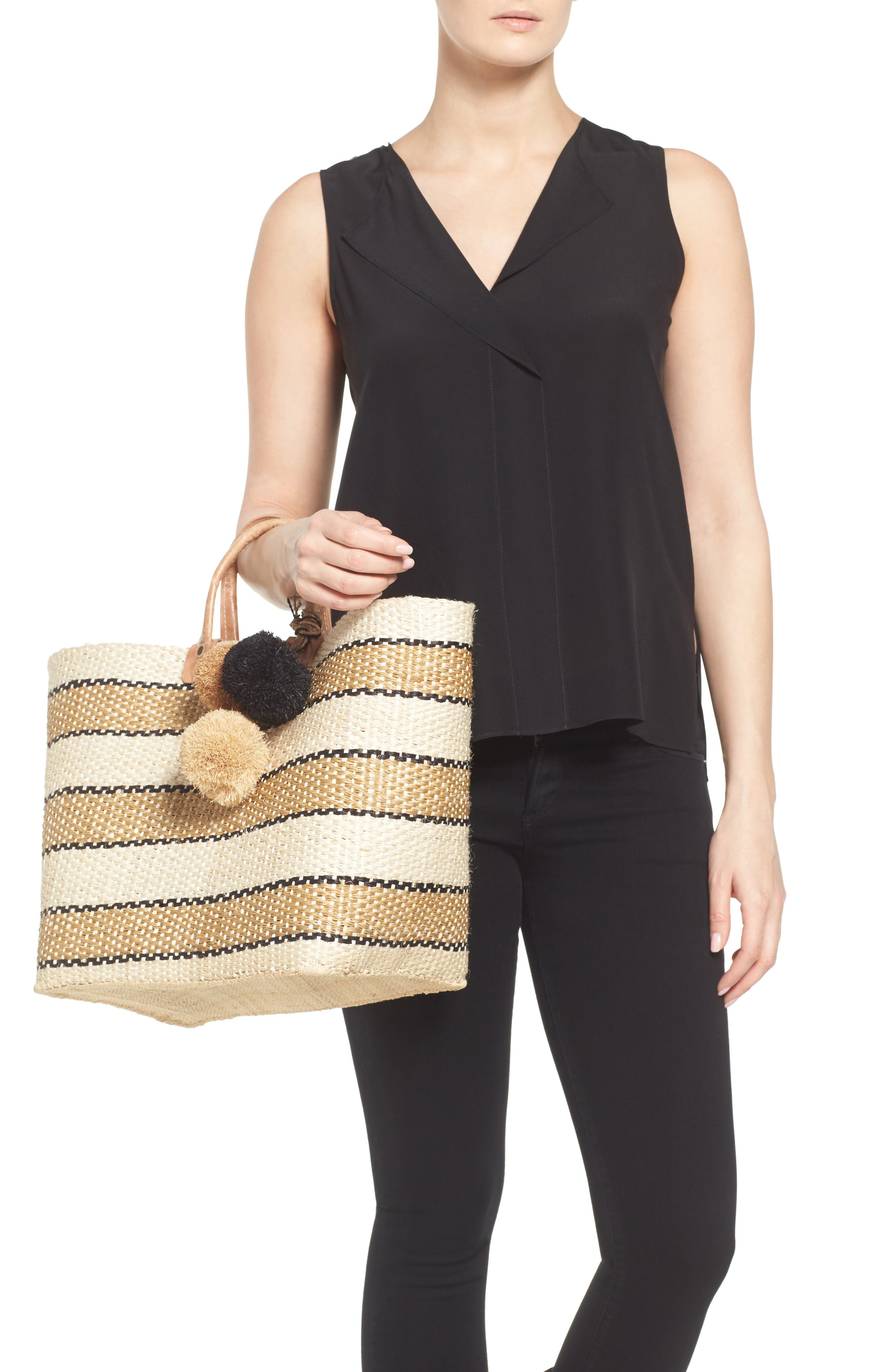 'Capri' Woven Tote with Pom Charms,                             Alternate thumbnail 2, color,                             200