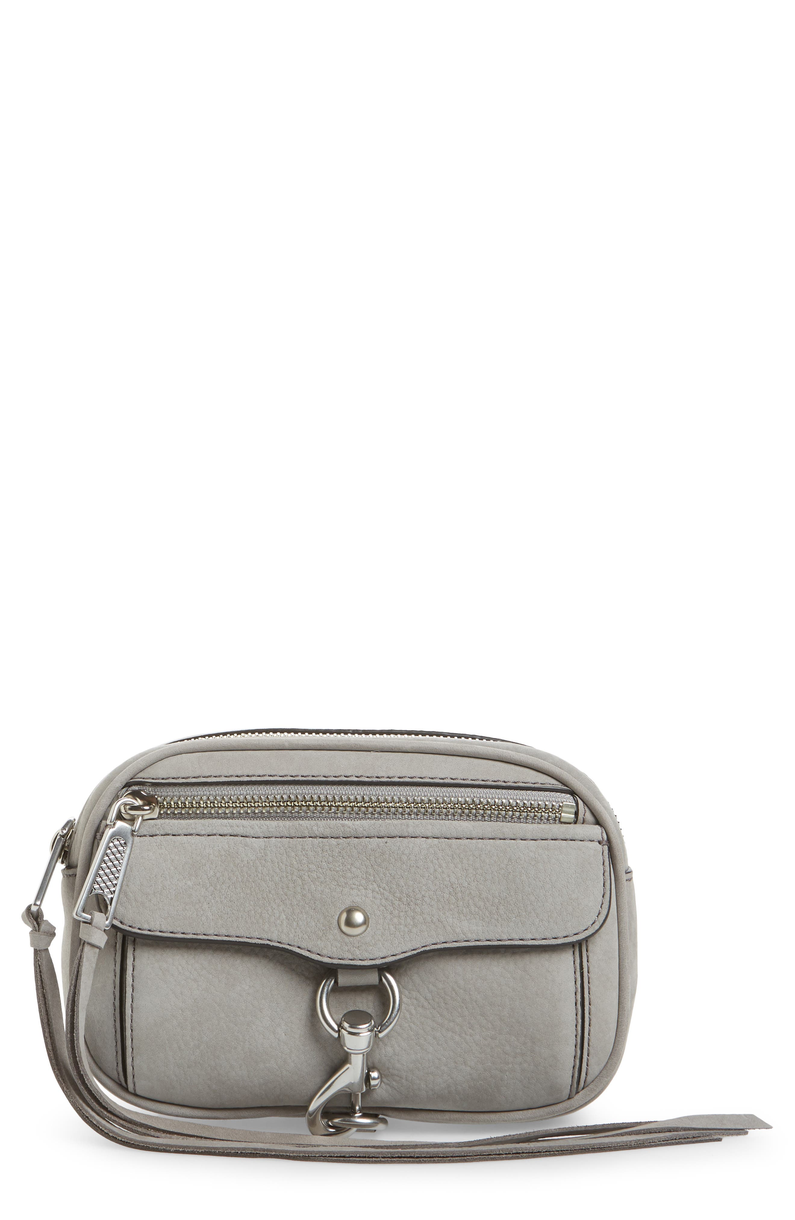 Blythe Leather Belt Bag, Main, color, GREY