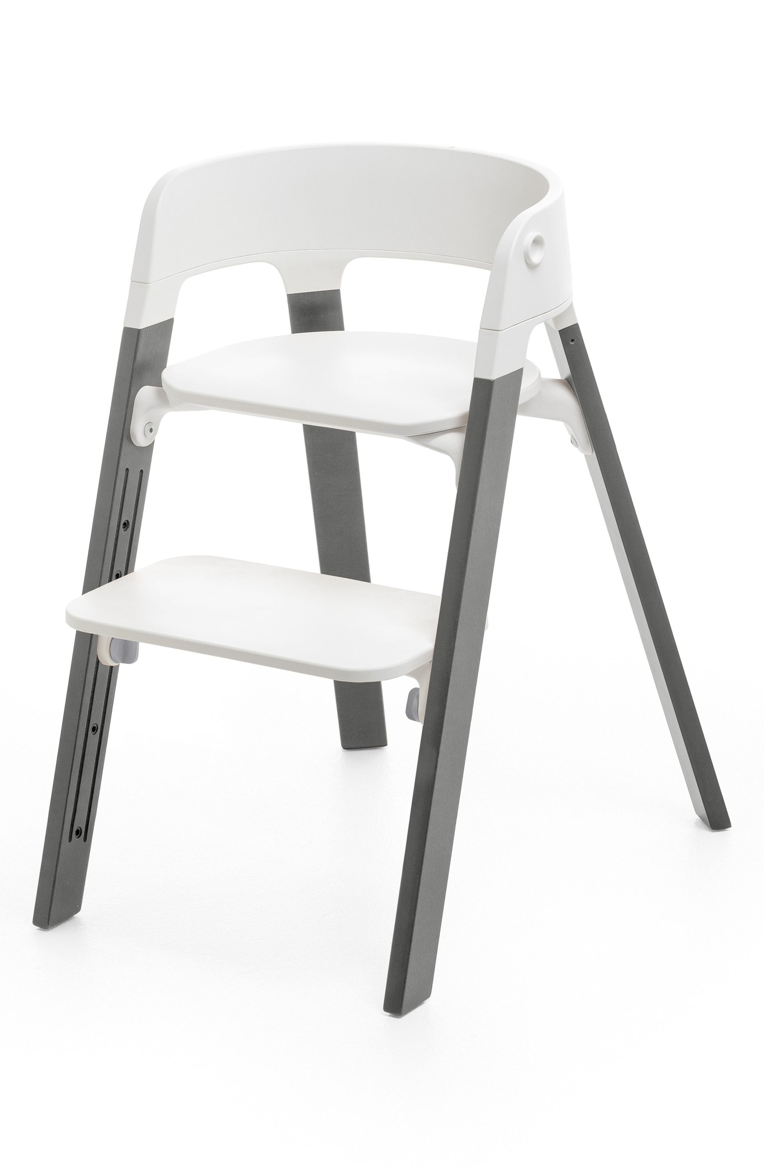 STOKKE,                             Steps<sup>™</sup> Chair,                             Main thumbnail 1, color,                             STORM GREY WITH WHITE SEAT