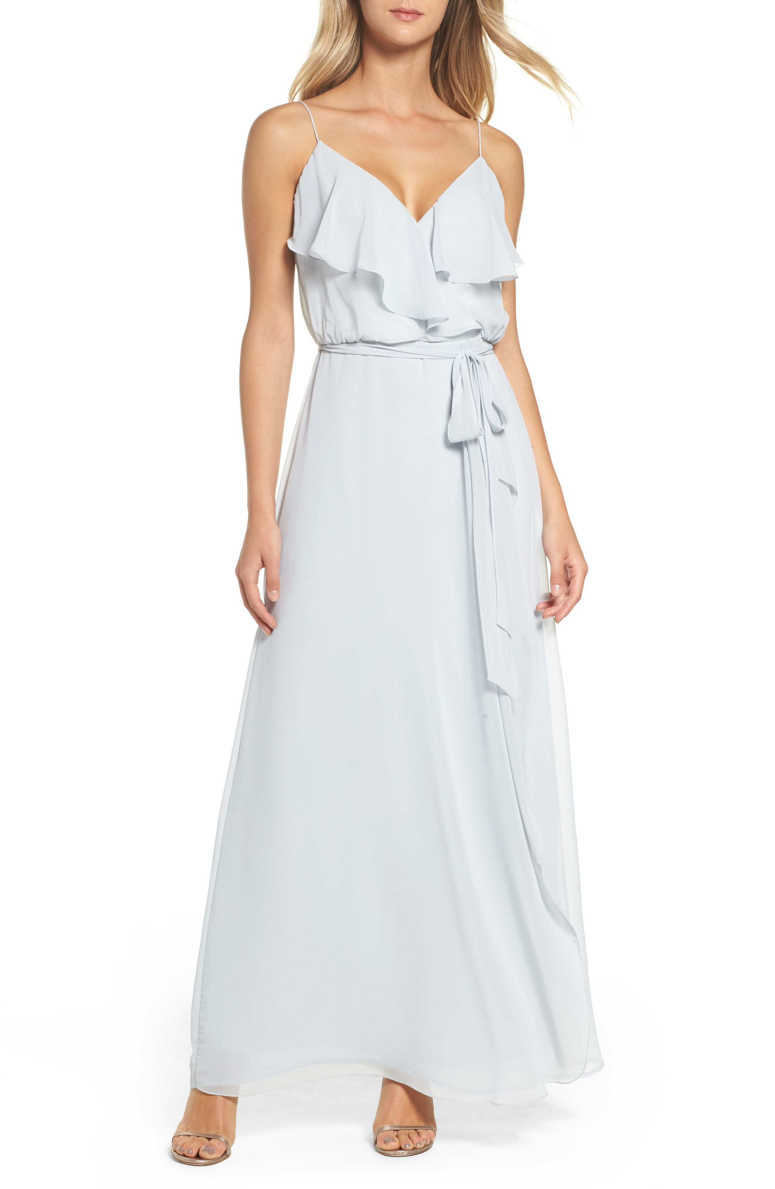 'Drew' Ruffle Front Chiffon Gown,                         Main,                         color, 052