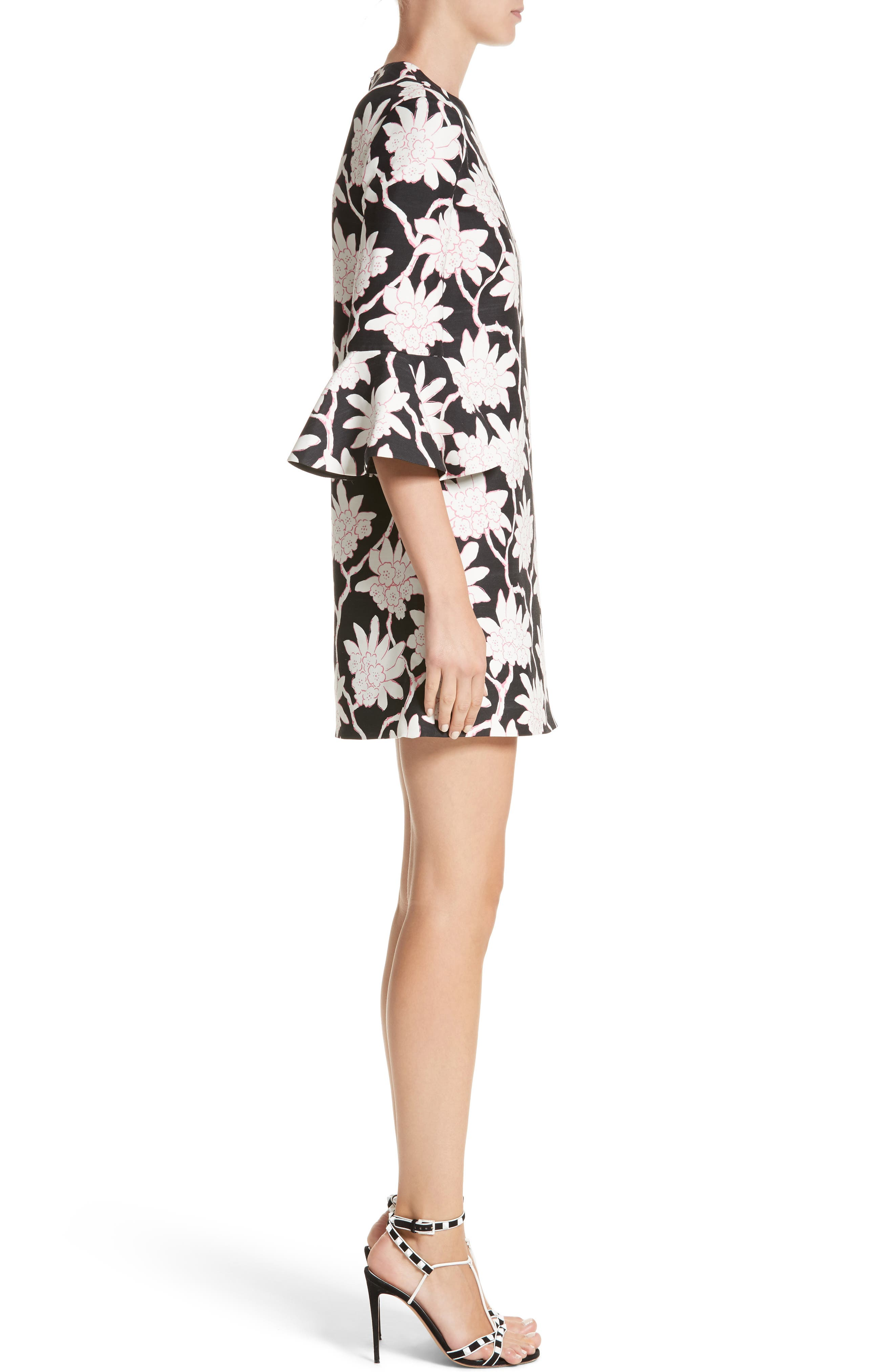 Rhododendron Print Wool & Silk Dress,                             Alternate thumbnail 3, color,                             001