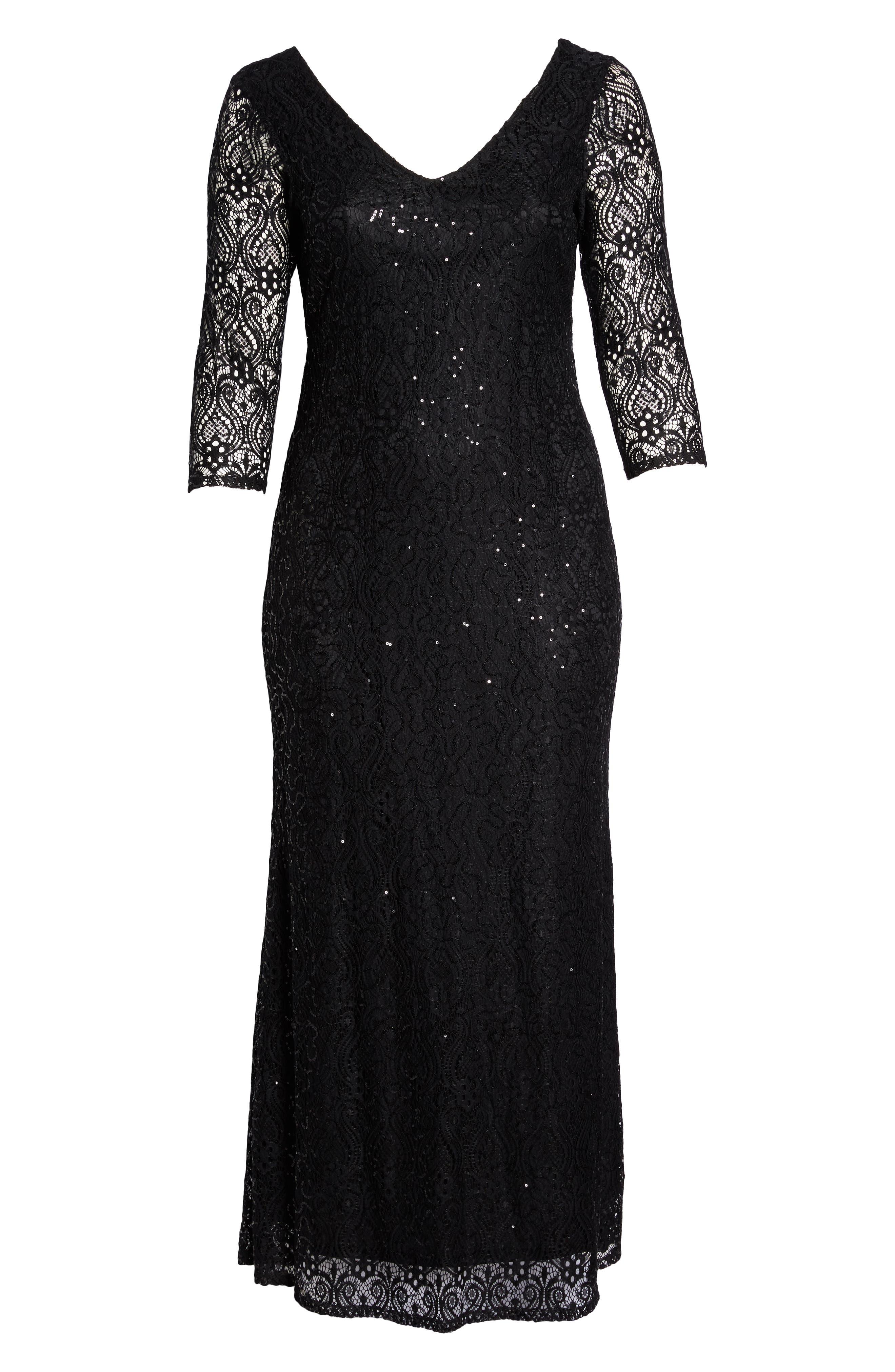 Sequin Lace A-Line Gown,                             Alternate thumbnail 6, color,                             001