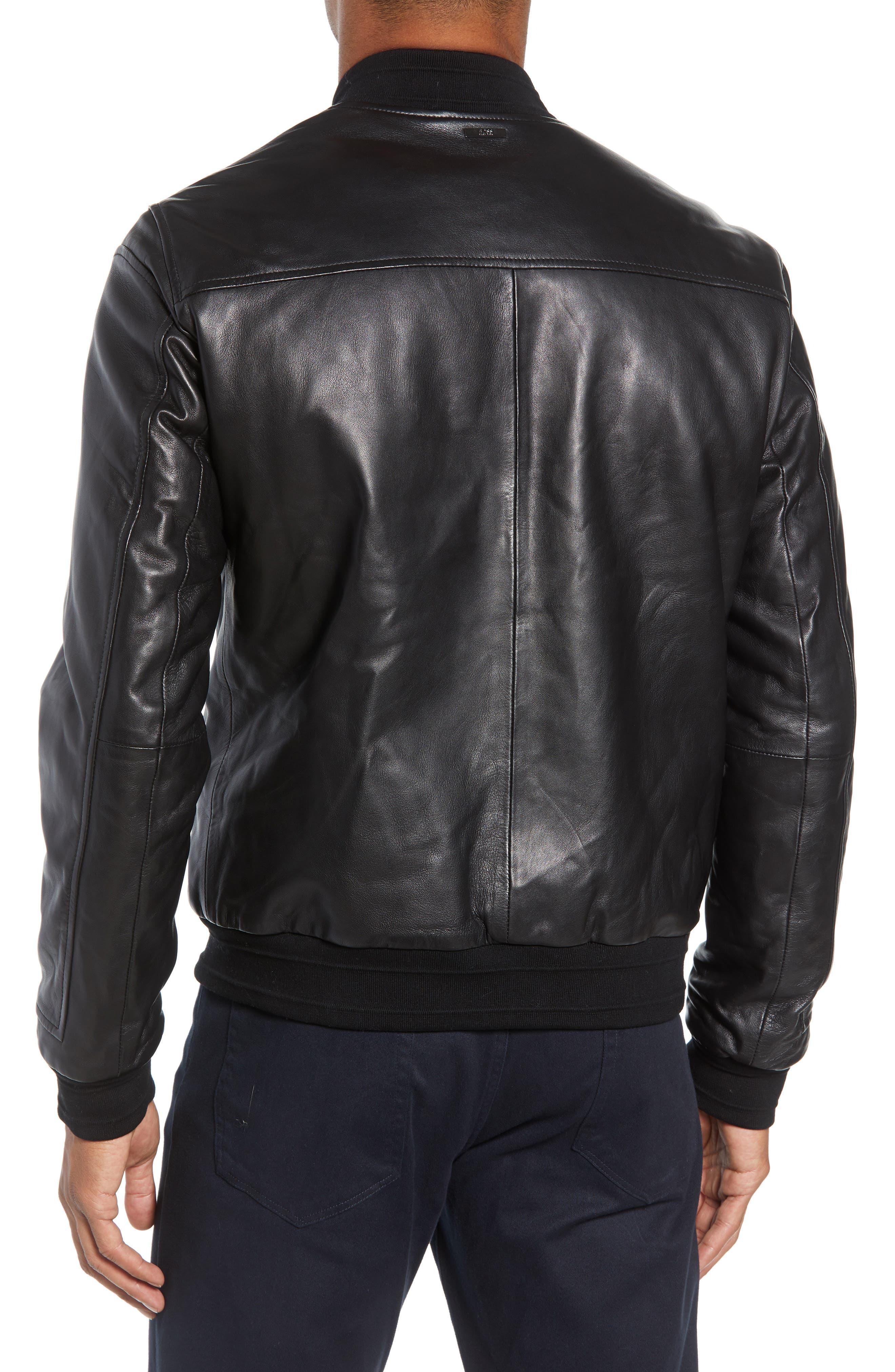 Arinos Leather Bomber Jacket,                             Alternate thumbnail 2, color,                             BLACK