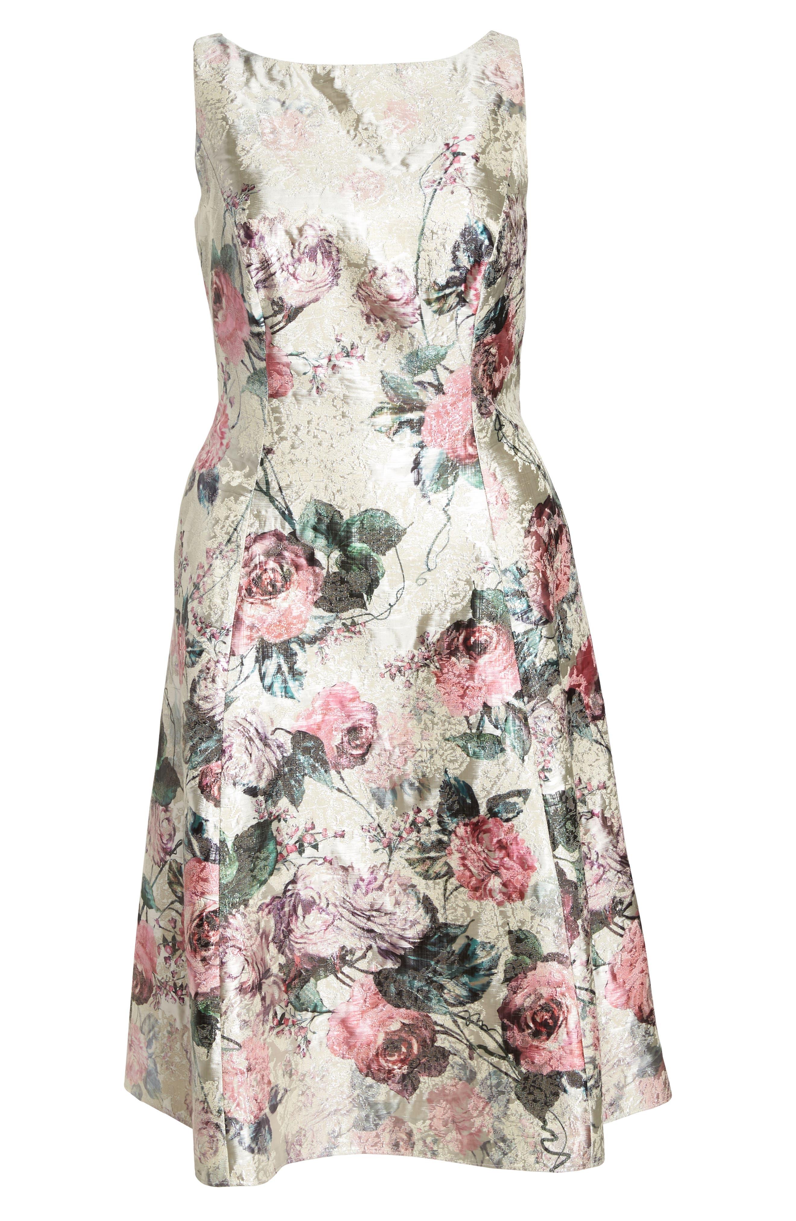 Print Jacquard Tea Length Dress,                             Alternate thumbnail 6, color,                             640