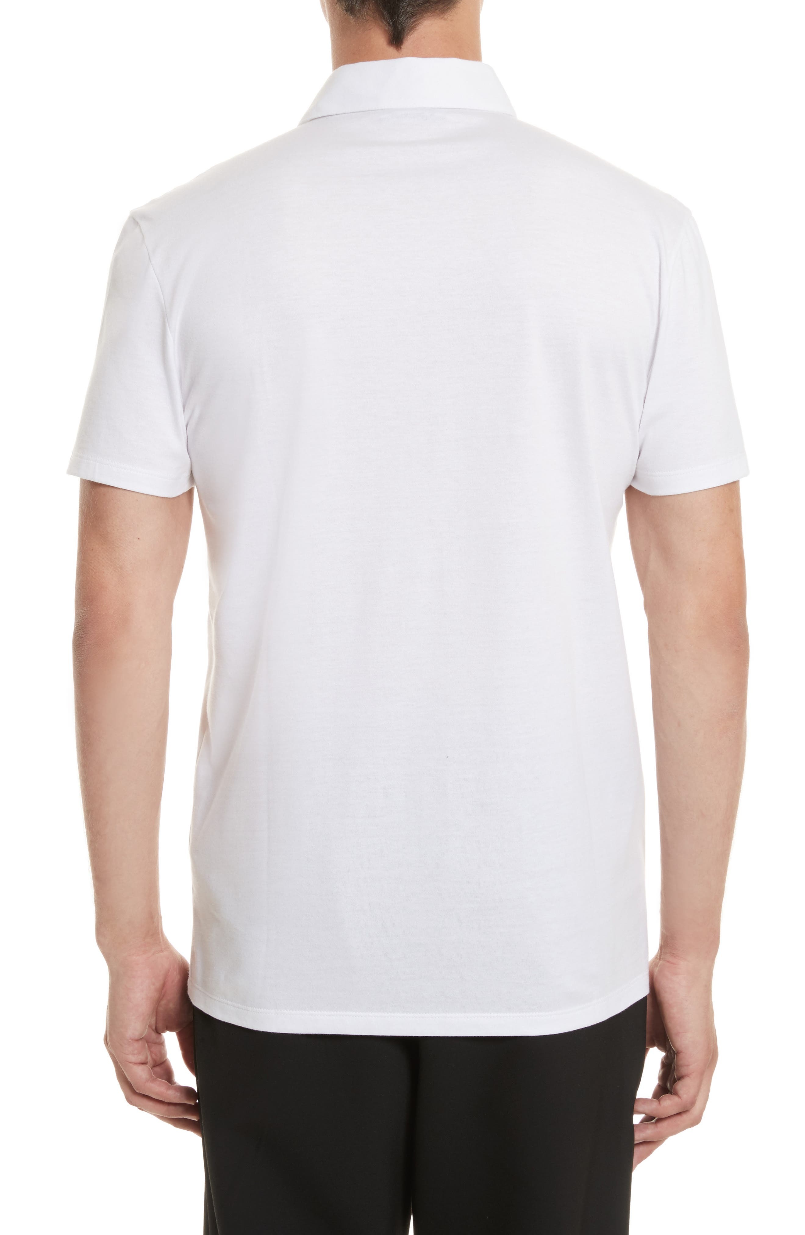 VERSACE COLLECTION,                             Logo Patch Jersey Polo,                             Alternate thumbnail 2, color,                             WHITE