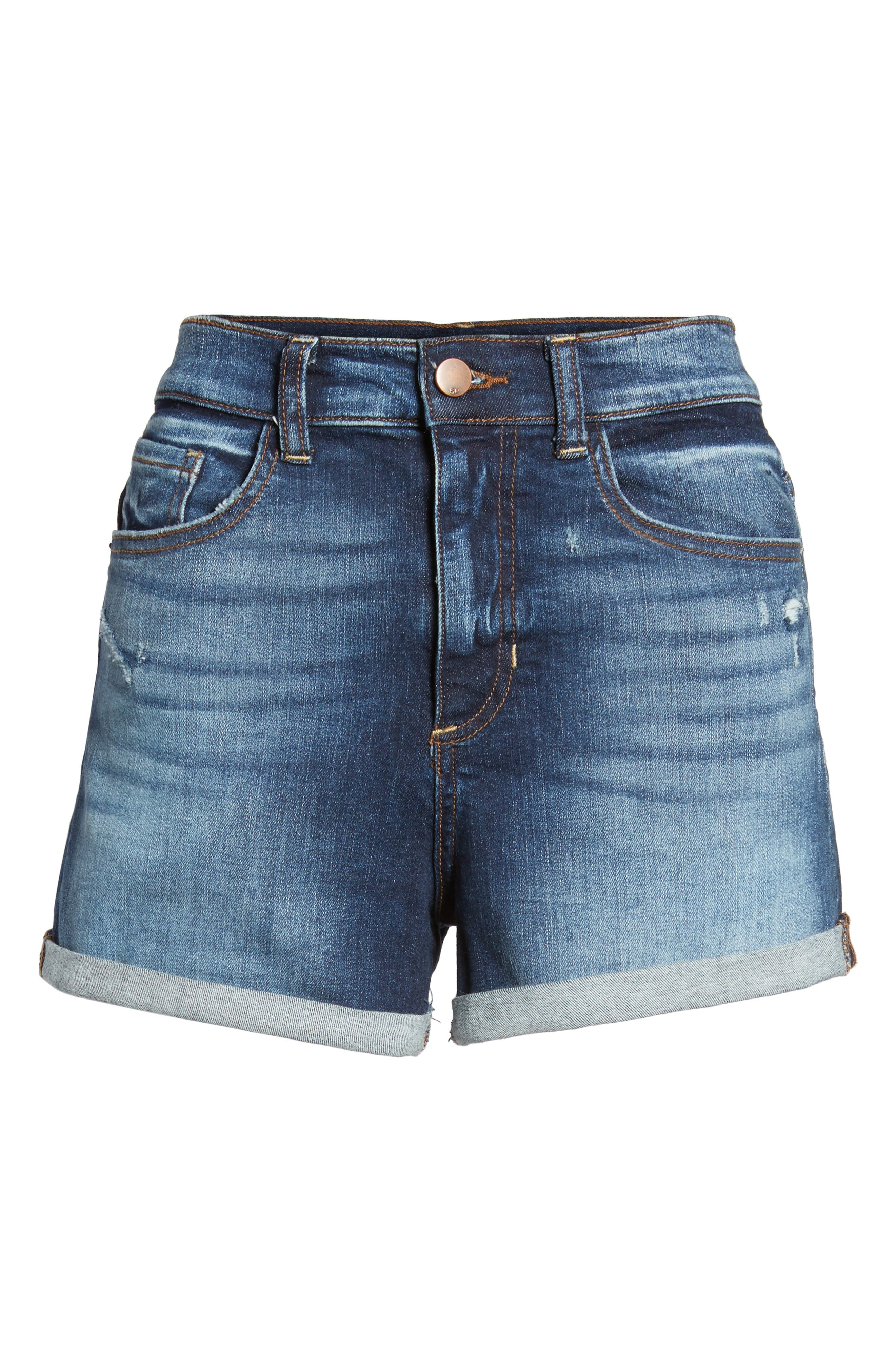 Cuffed High Waist Denim Shorts,                             Alternate thumbnail 6, color,                             401