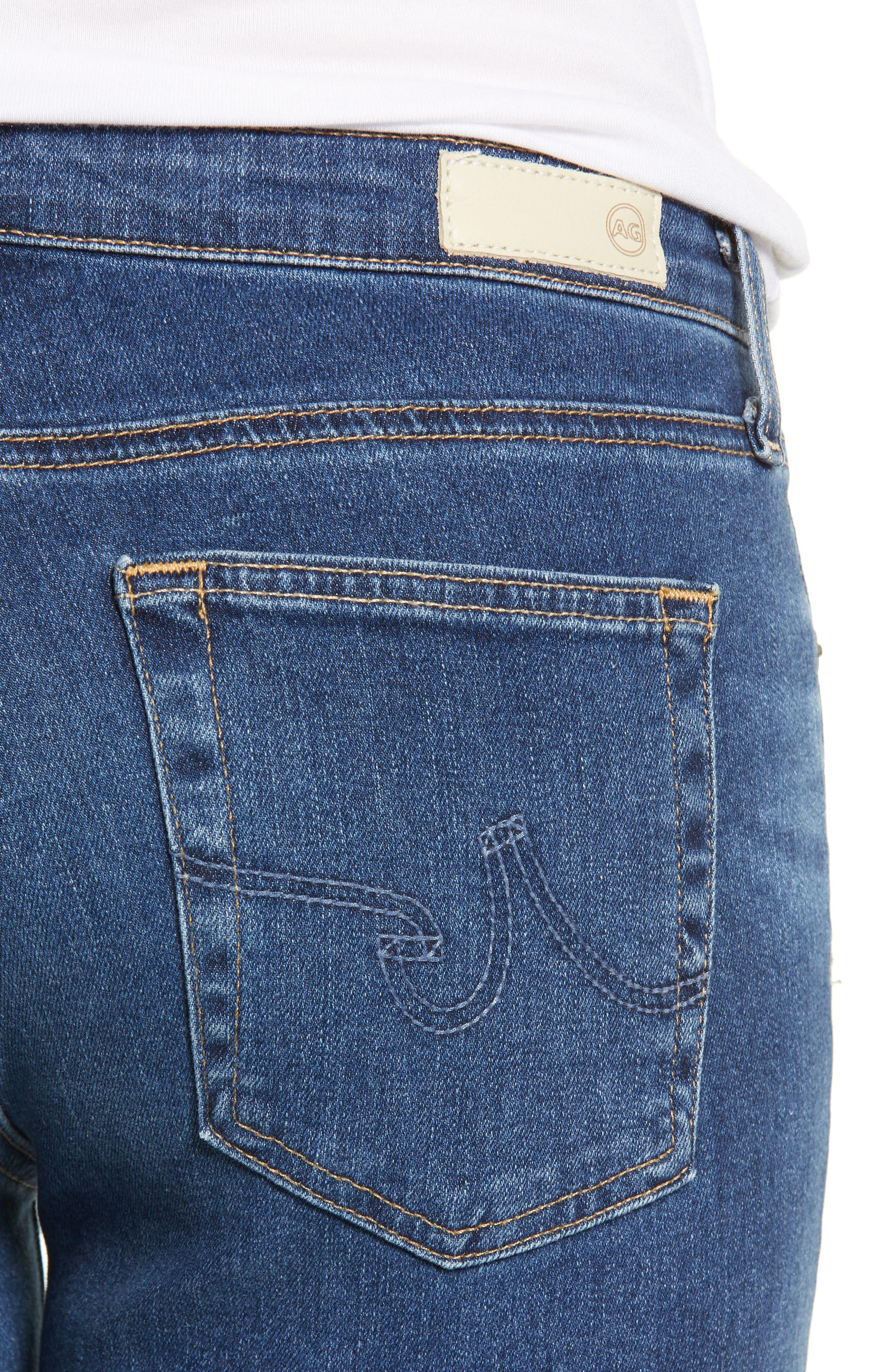 Prima Ankle Cigarette Jeans,                             Alternate thumbnail 4, color,                             8 YEARS BLUE PORTRAIT