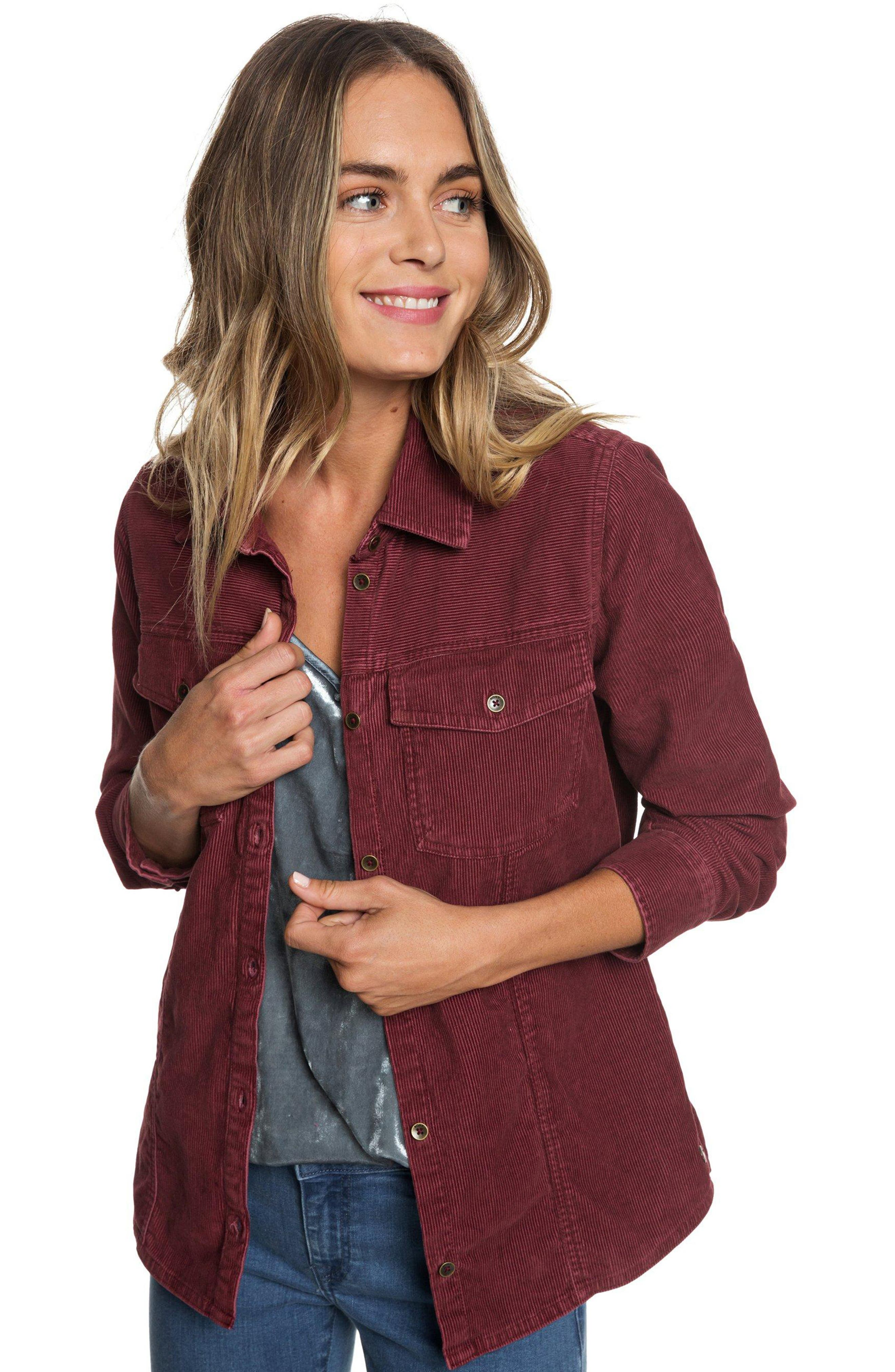 The Edge Of Wildness Corduroy Shirt,                             Alternate thumbnail 5, color,                             OXBLOOD RED