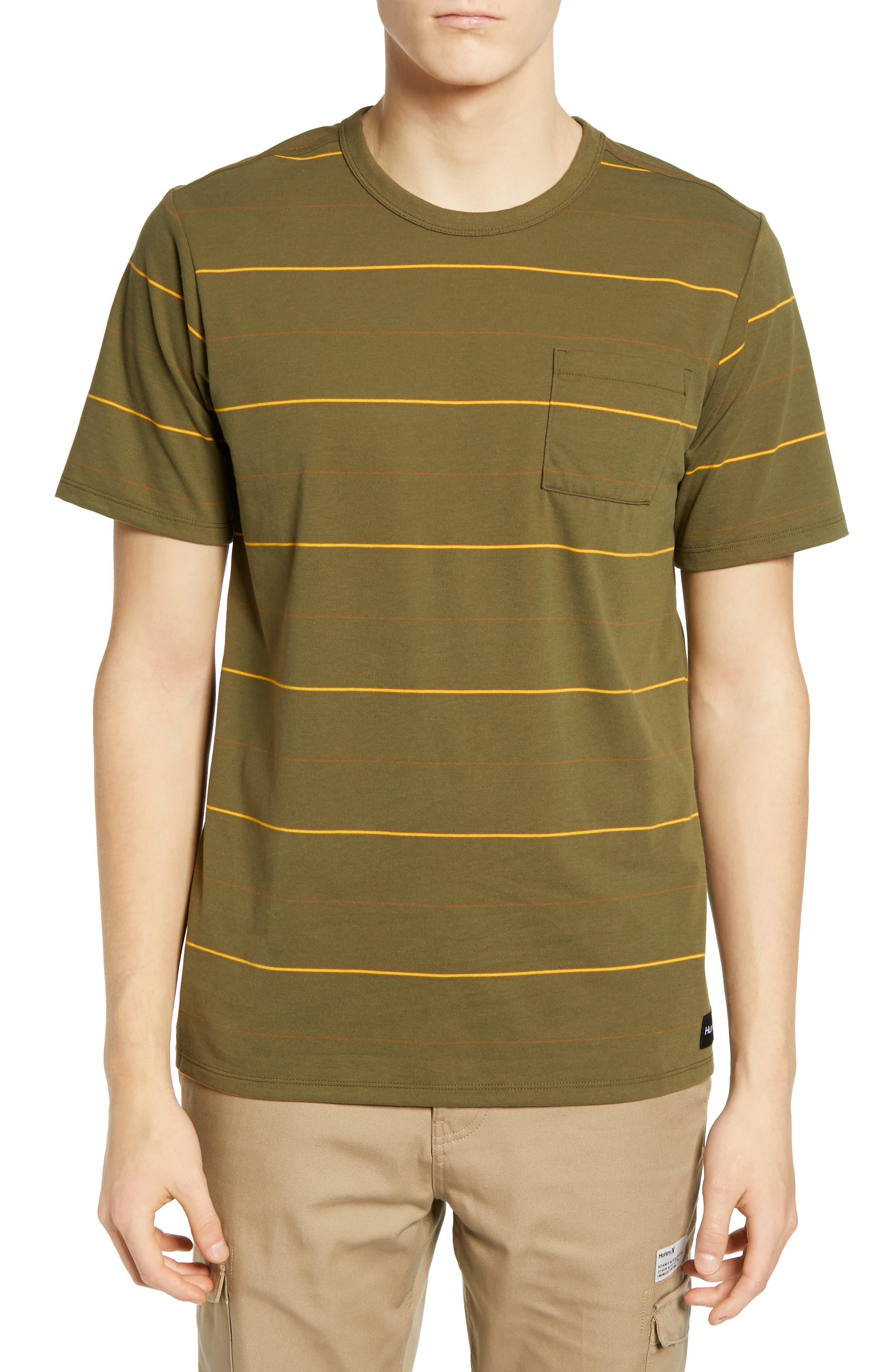 Hurley Dri-Fit Straya Stripe Pocket T-Shirt, Green