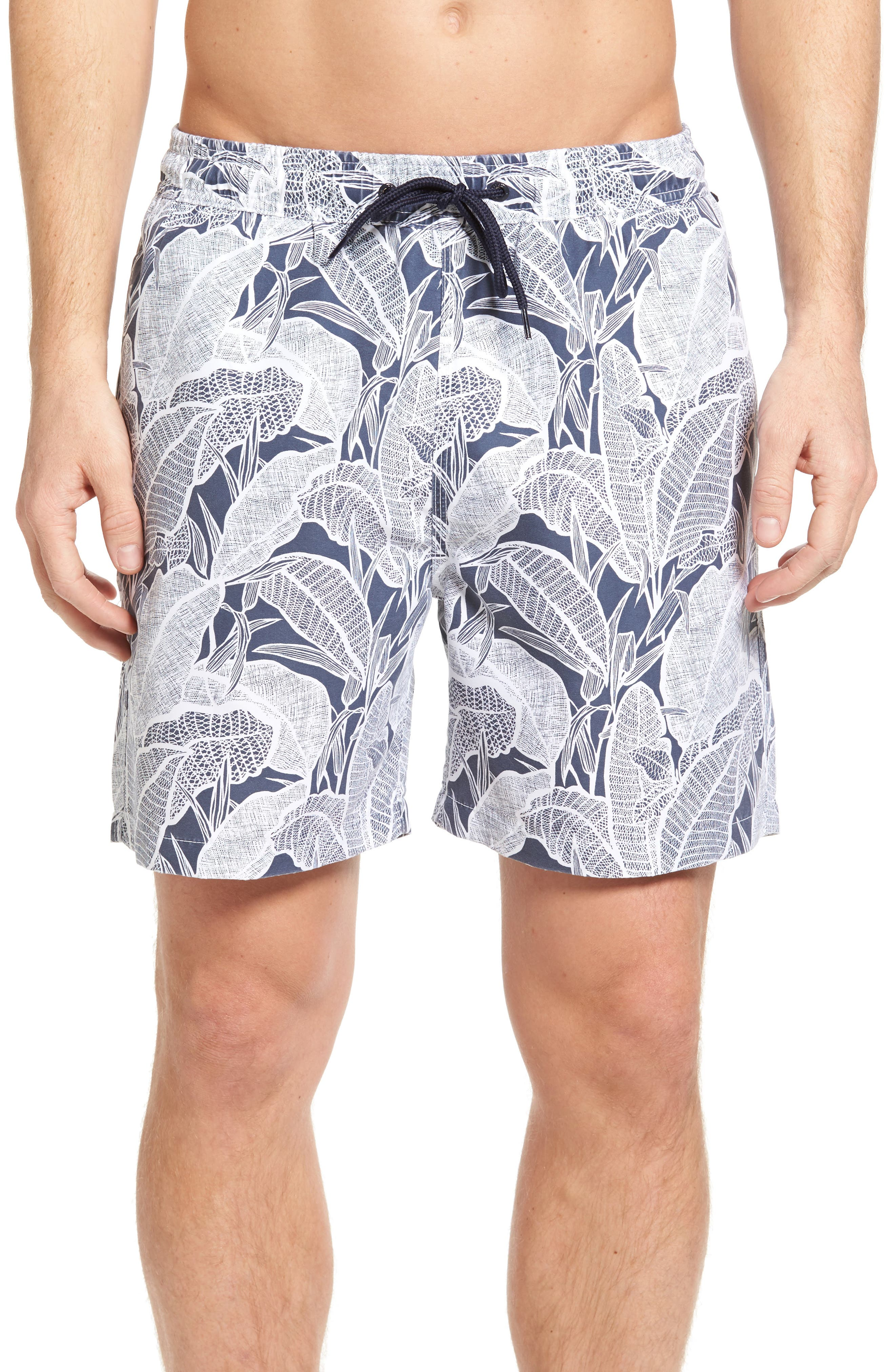Banana Leaves Volley Swim Trunks,                             Main thumbnail 1, color,