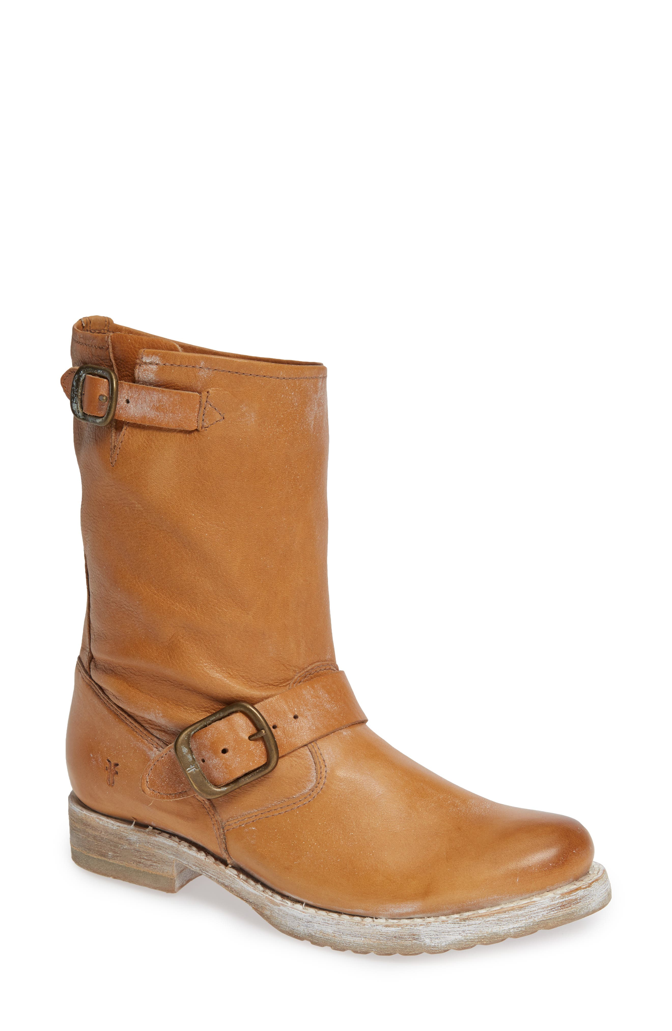 'Veronica Short' Slouchy Boot,                             Main thumbnail 1, color,                             TAN LEATHER