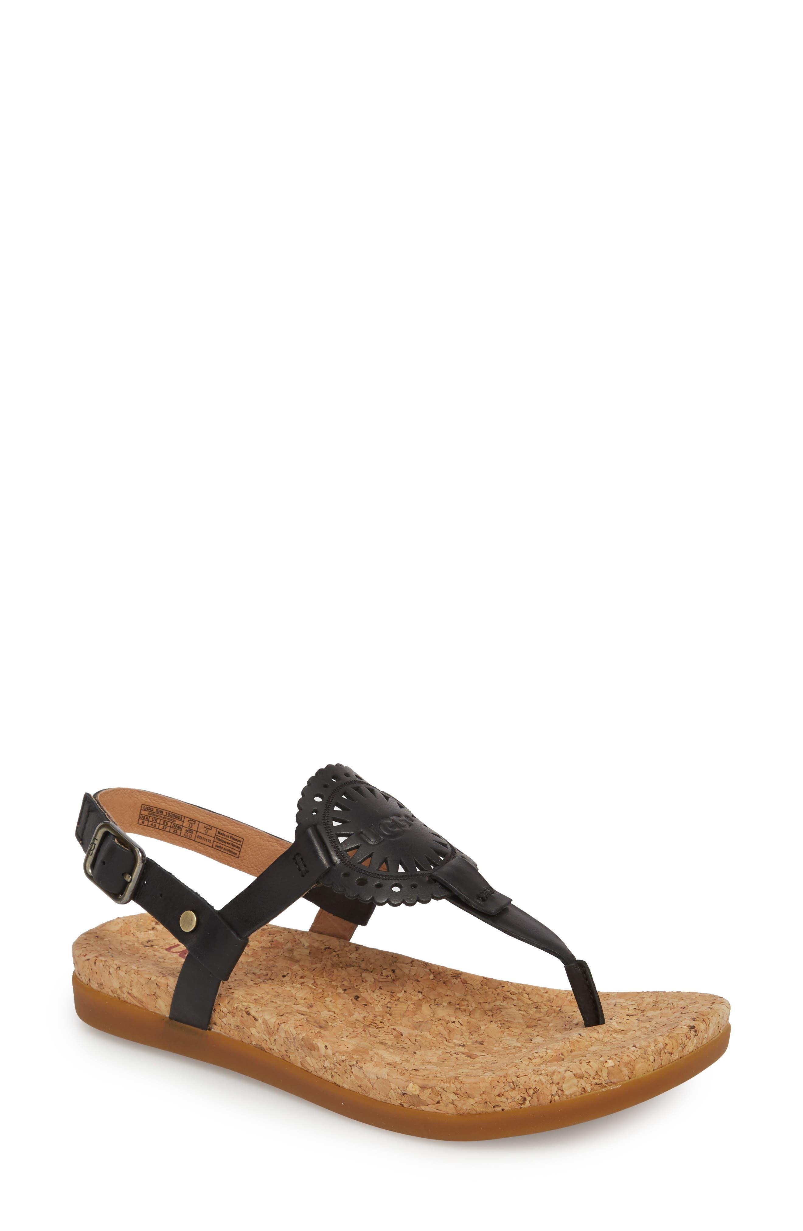 UGG<SUP>®</SUP>,                             Ayden II T-Strap Sandal,                             Main thumbnail 1, color,                             BLACK LEATHER
