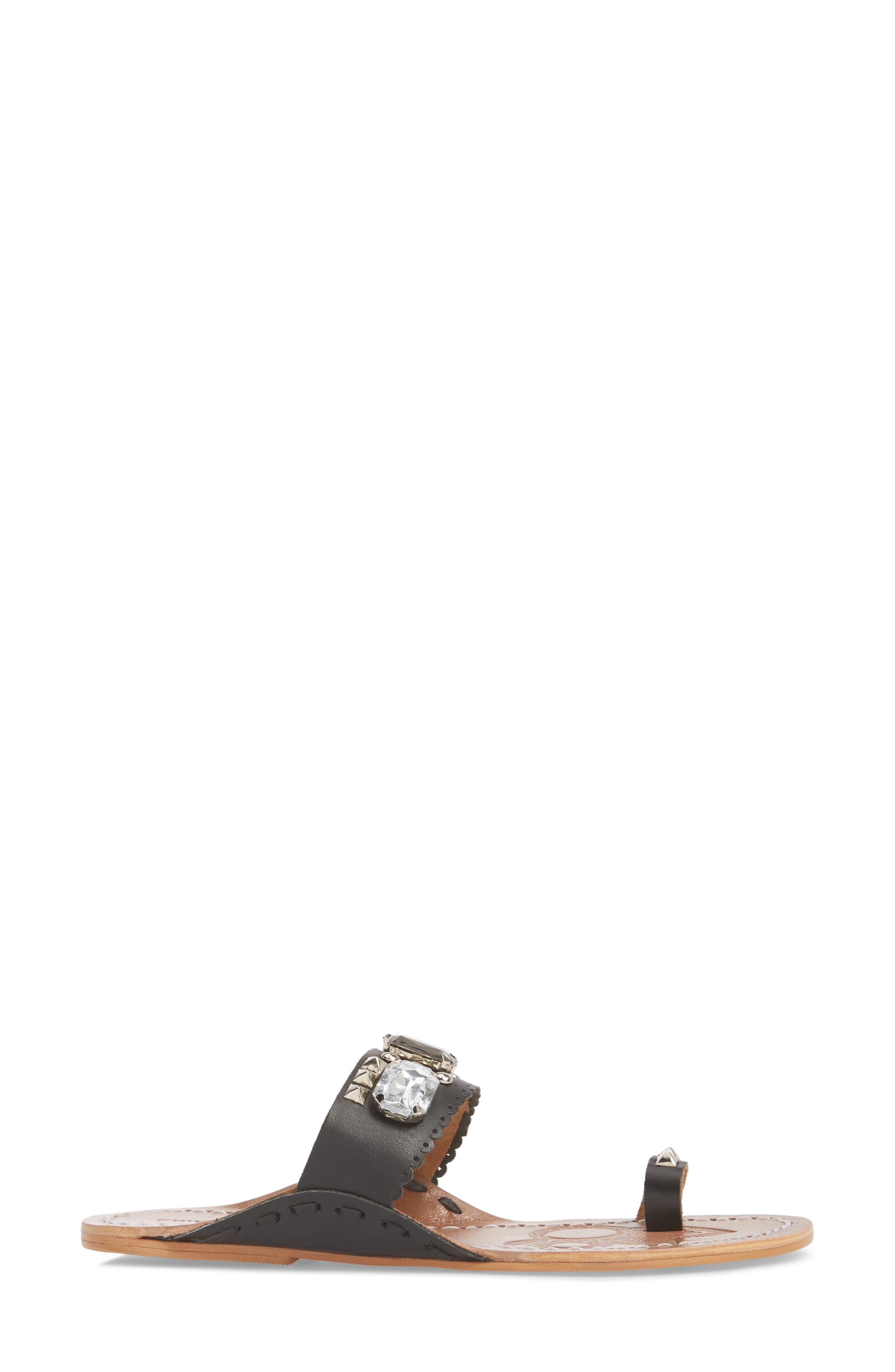 Jada Embellished Slide Sandal,                             Alternate thumbnail 3, color,                             001
