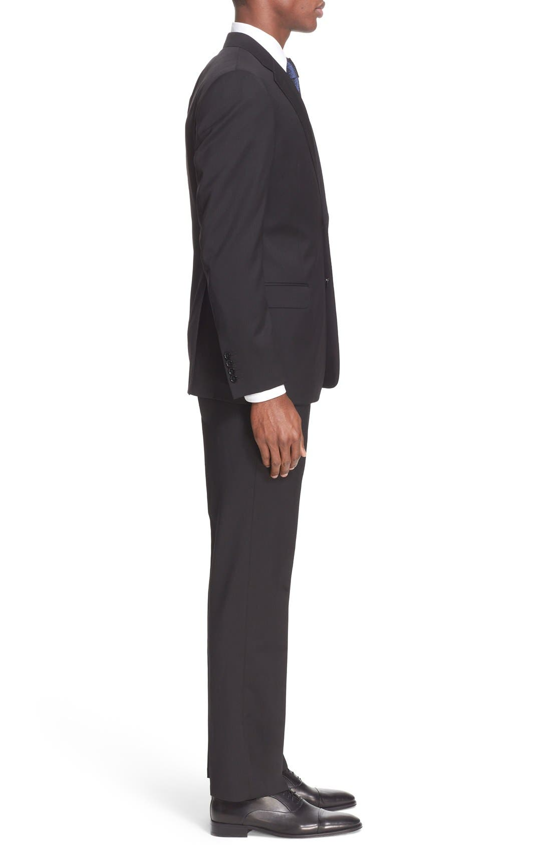G-Line Trim Fit Solid Wool Suit,                             Alternate thumbnail 3, color,                             001
