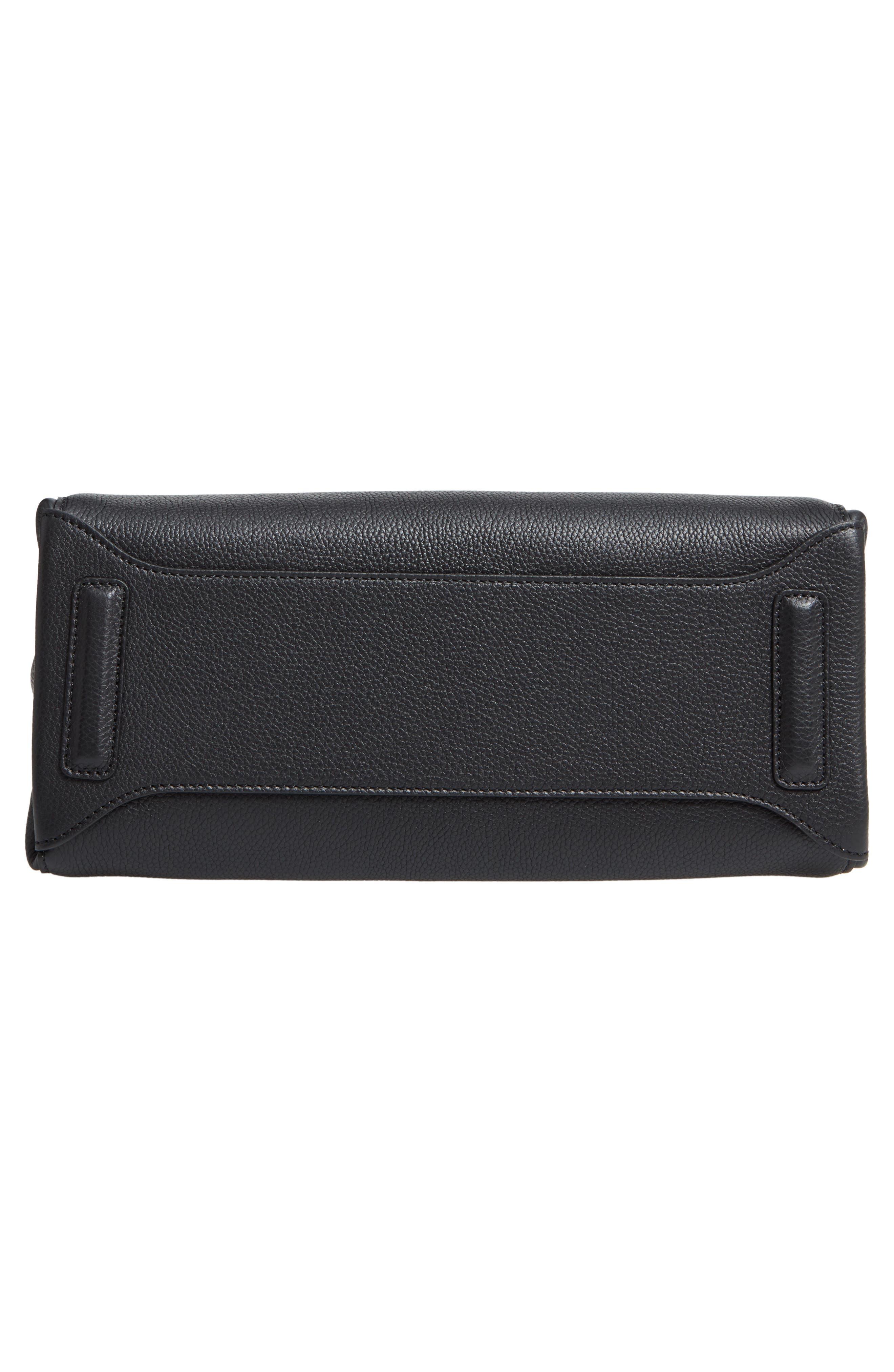Small Meline Evolution Leather Bag,                             Alternate thumbnail 6, color,                             BLACK