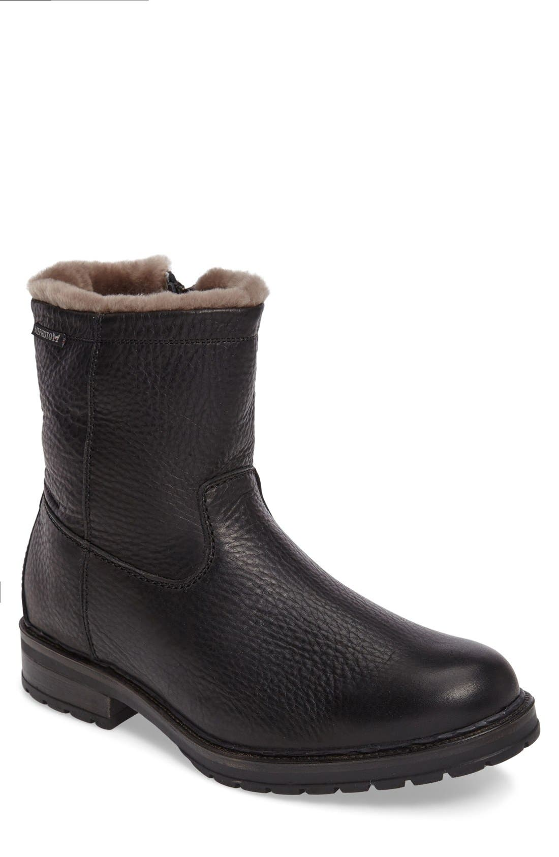 Leonardo Genuine Shearling Lined Boot,                         Main,                         color, BLACK MONTANA