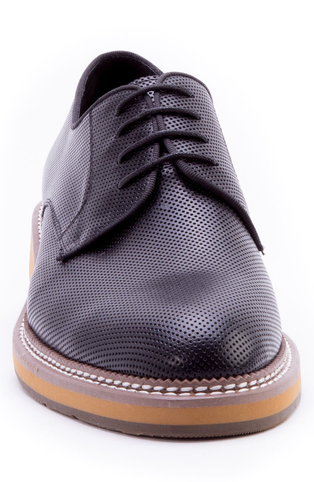 Monticello Perforated Plain Toe Derby,                             Alternate thumbnail 4, color,                             BLACK LEATHER